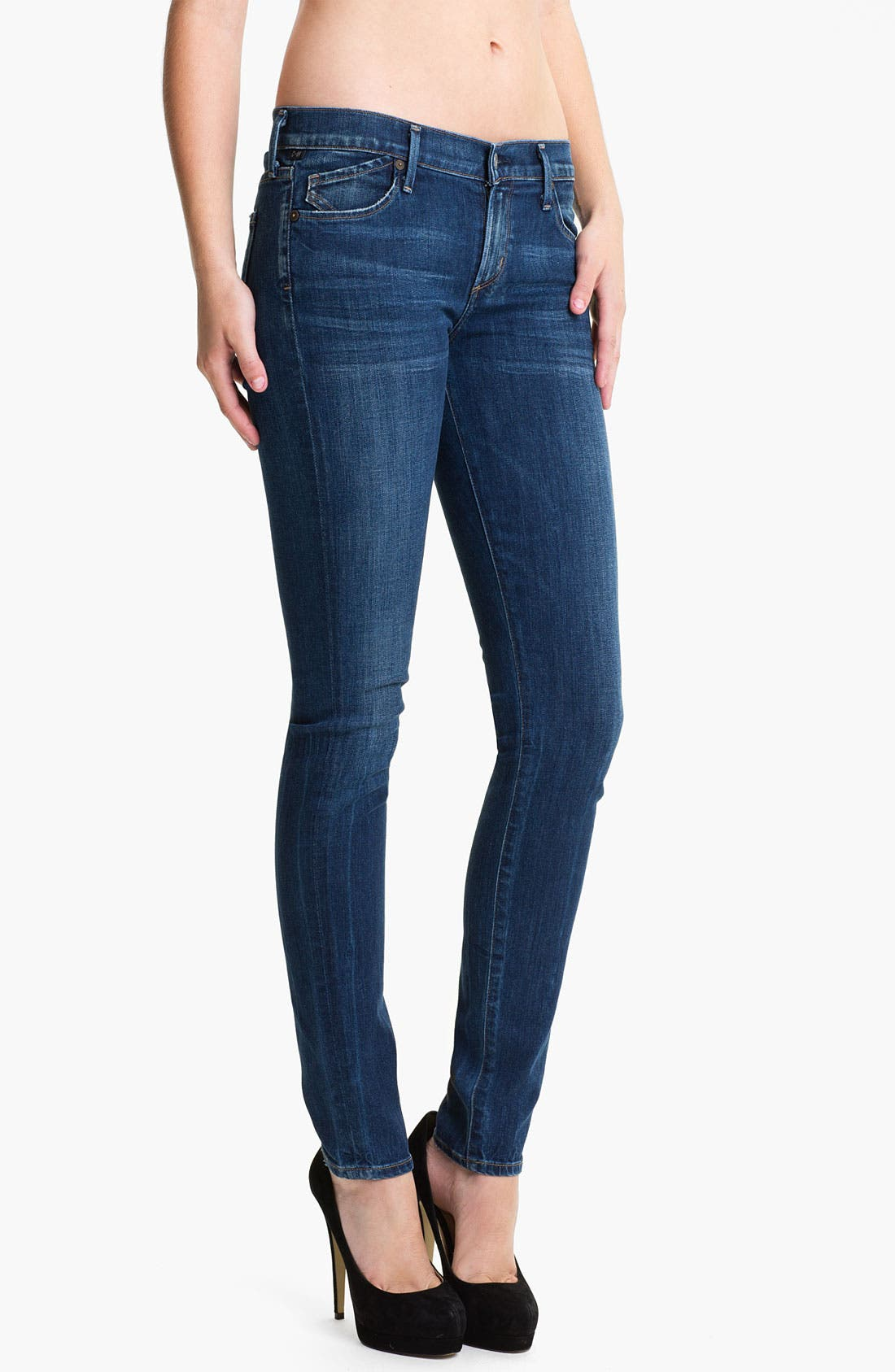 Alternate Image 1 Selected - Citizens of Humanity Stretch Skinny Jeans (Dark Blue)