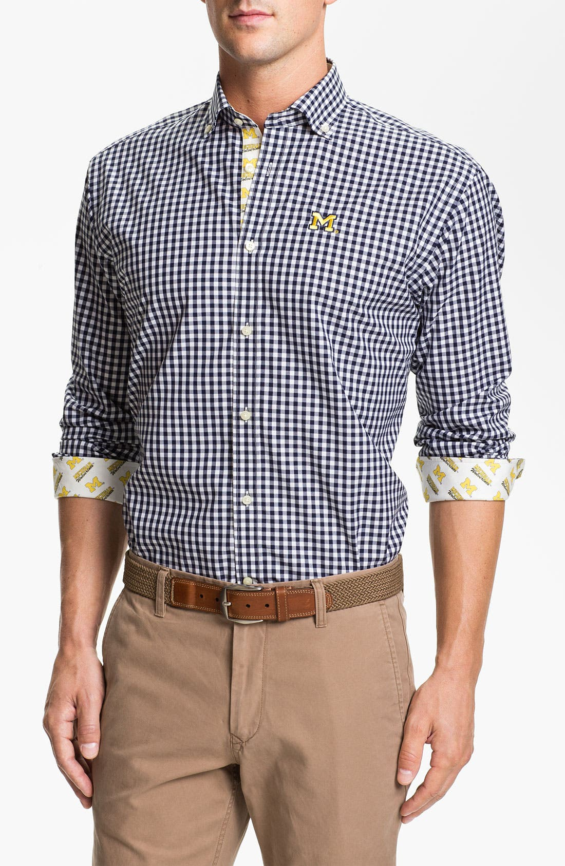 Alternate Image 1 Selected - Thomas Dean 'University of Michigan' Gingham Sport Shirt