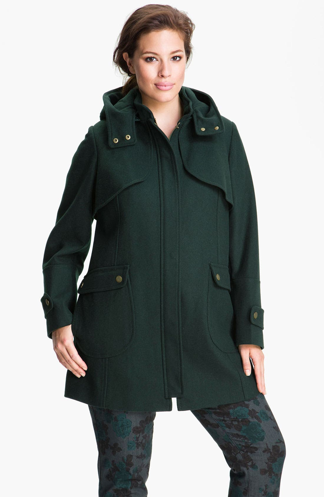 Wool Blend Jacket with Detachable Hood,                         Main,                         color, Forest