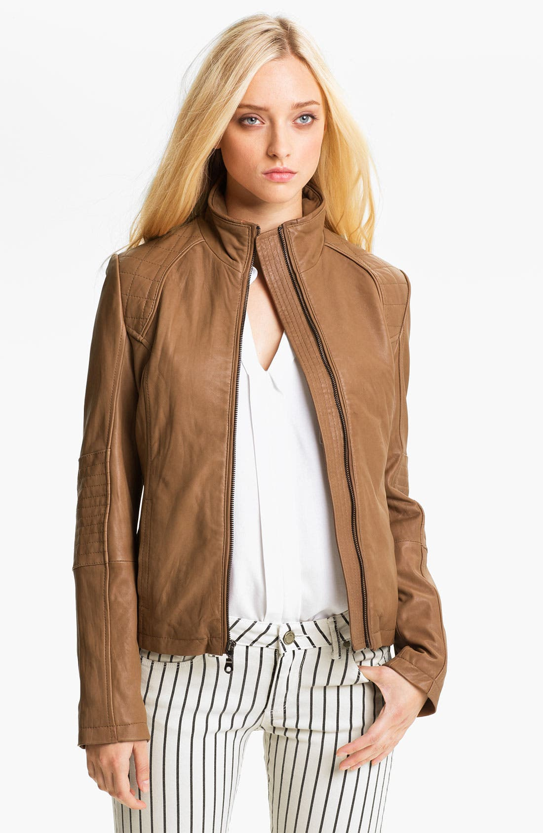Main Image - DKNY Leather Scuba Jacket (Petite)