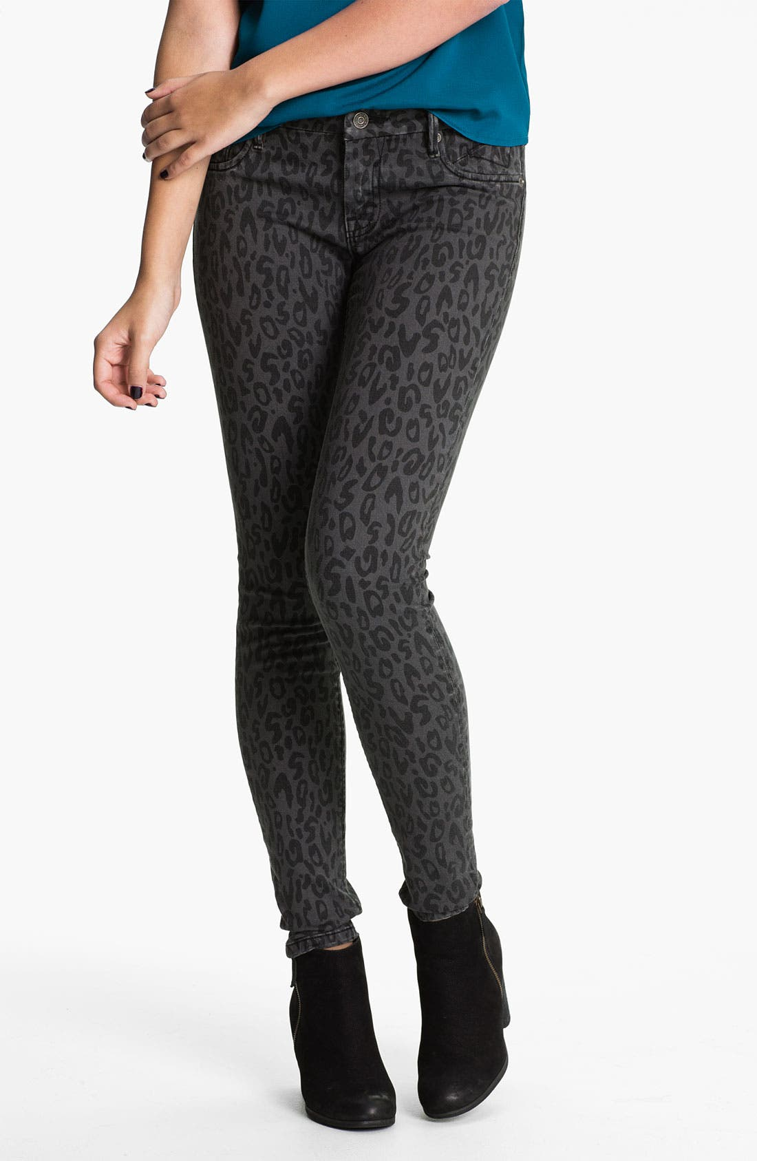 Alternate Image 2  - Vigoss Leopard Print Skinny Jeans (Juniors)