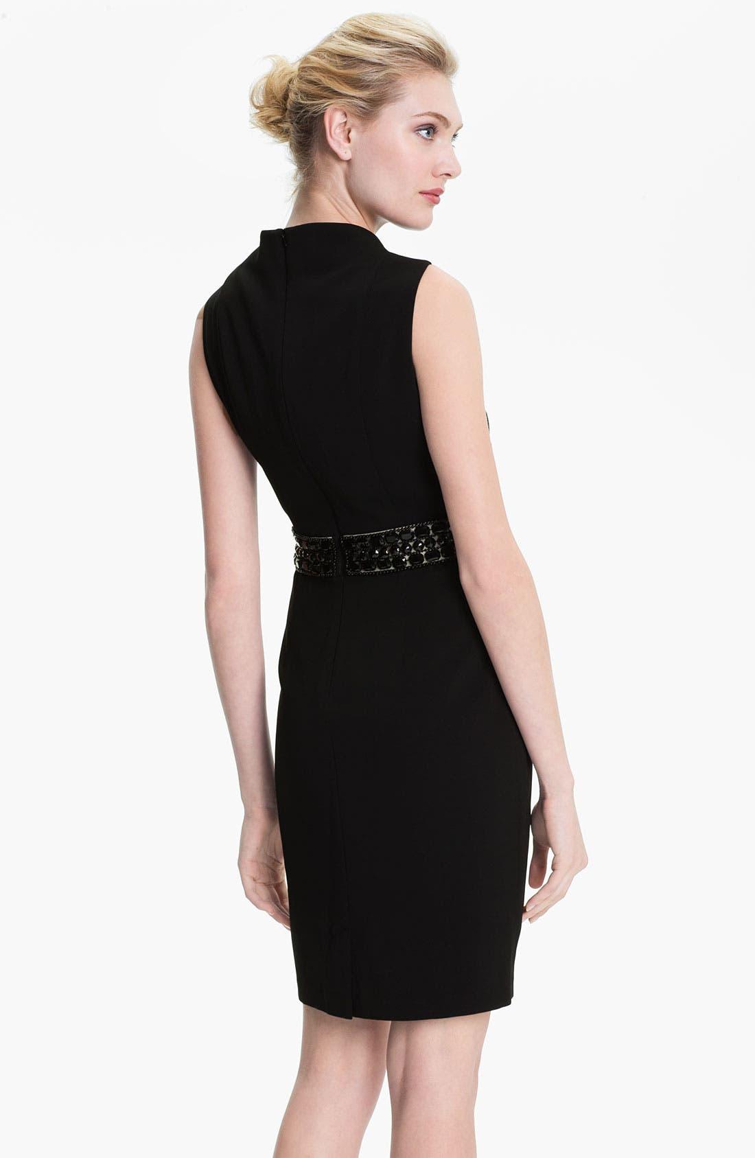 Alternate Image 2  - Donna Ricco Notch Collar Beaded Waist Sheath Dress