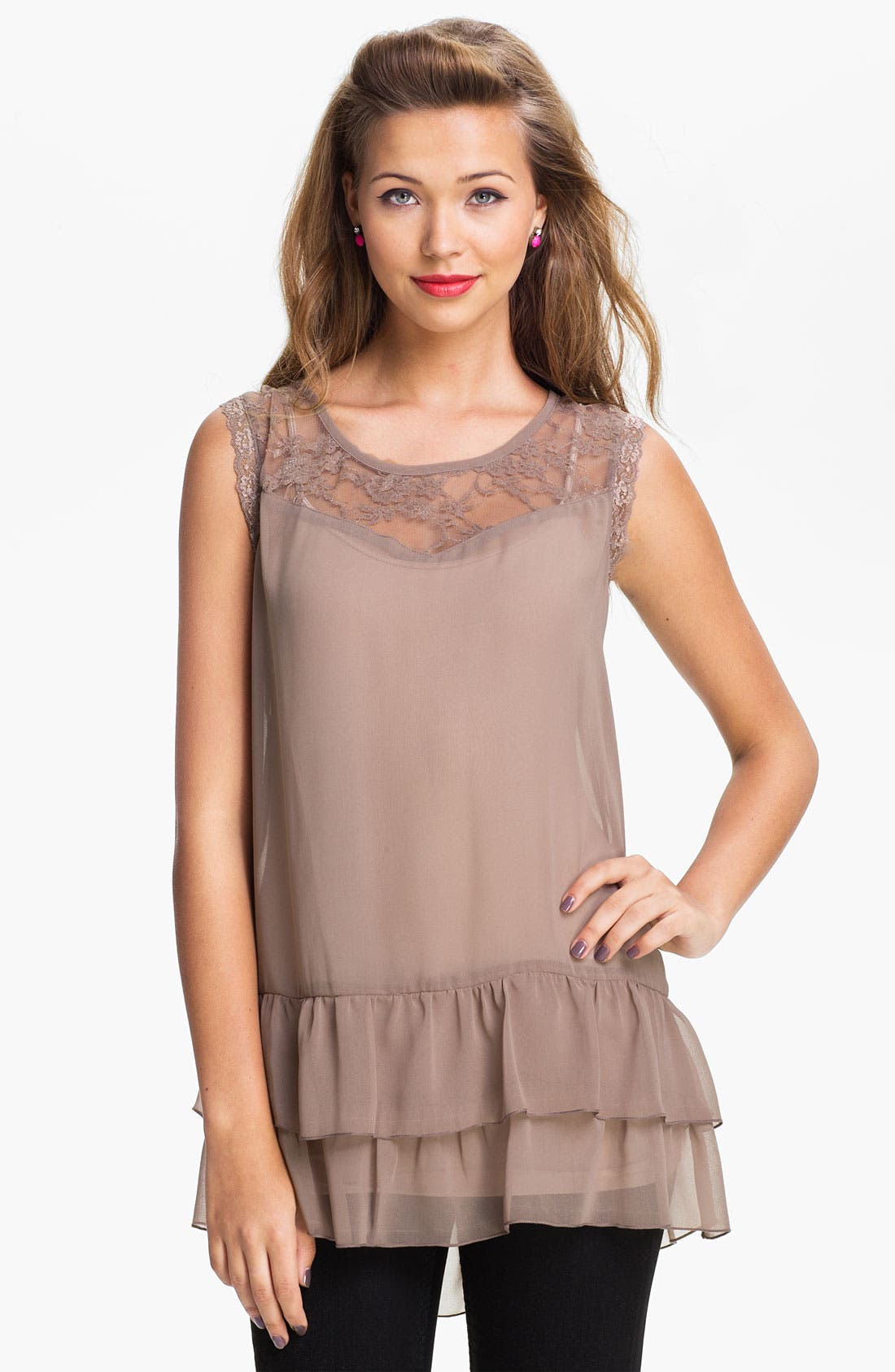 Main Image - Love Squared Tiered Chiffon & Lace Tunic (Juniors)