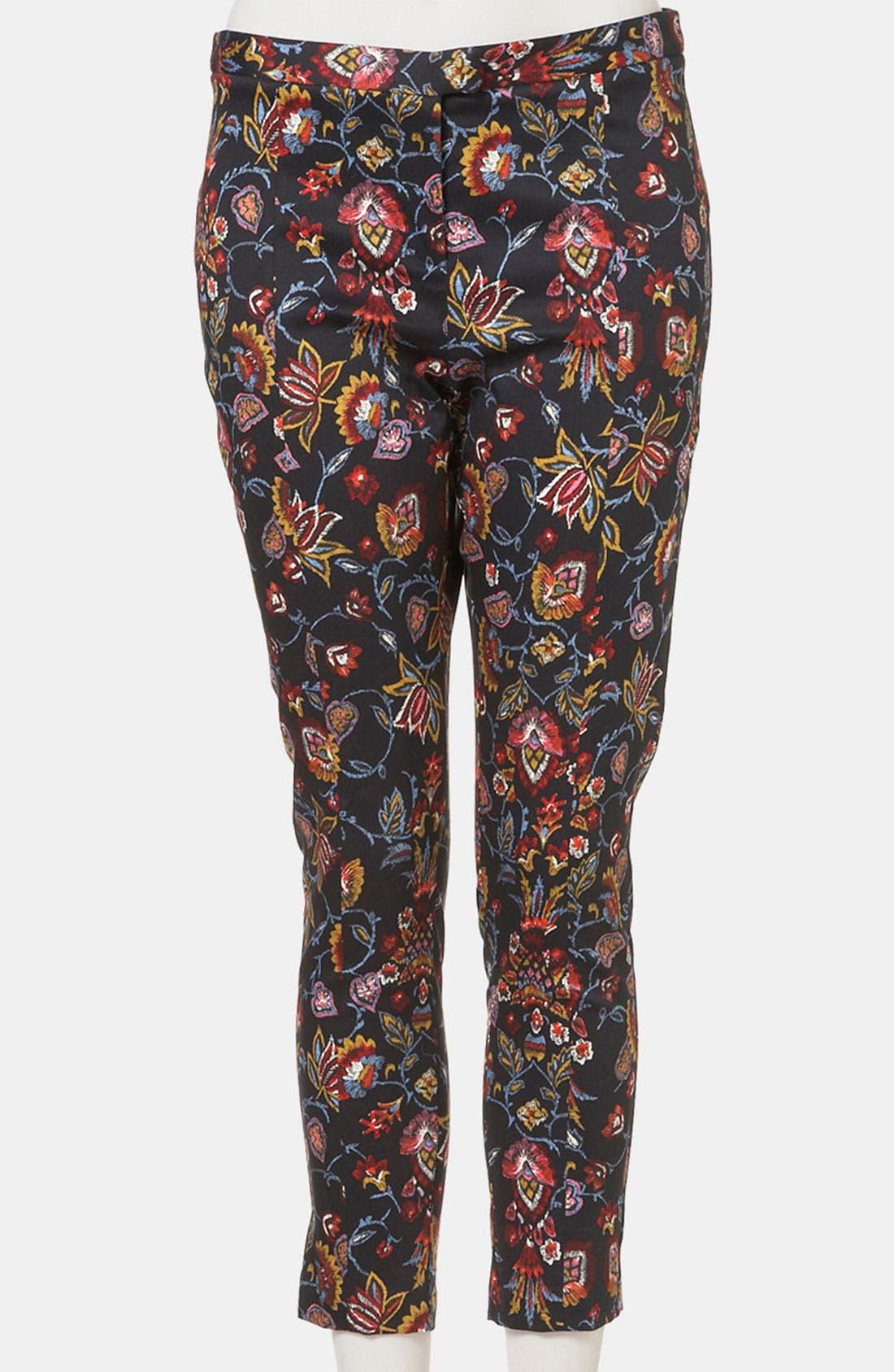 Main Image - Topshop Tapestry Print Skinny Pants (Petite)