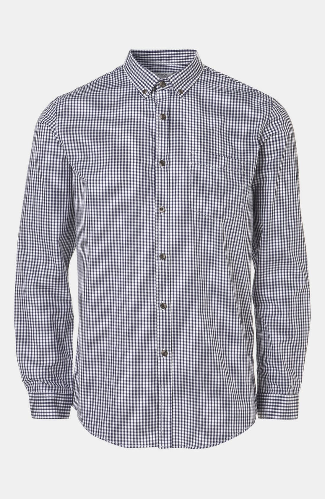 Alternate Image 1 Selected - Topman Extra Trim Gingham Check Shirt