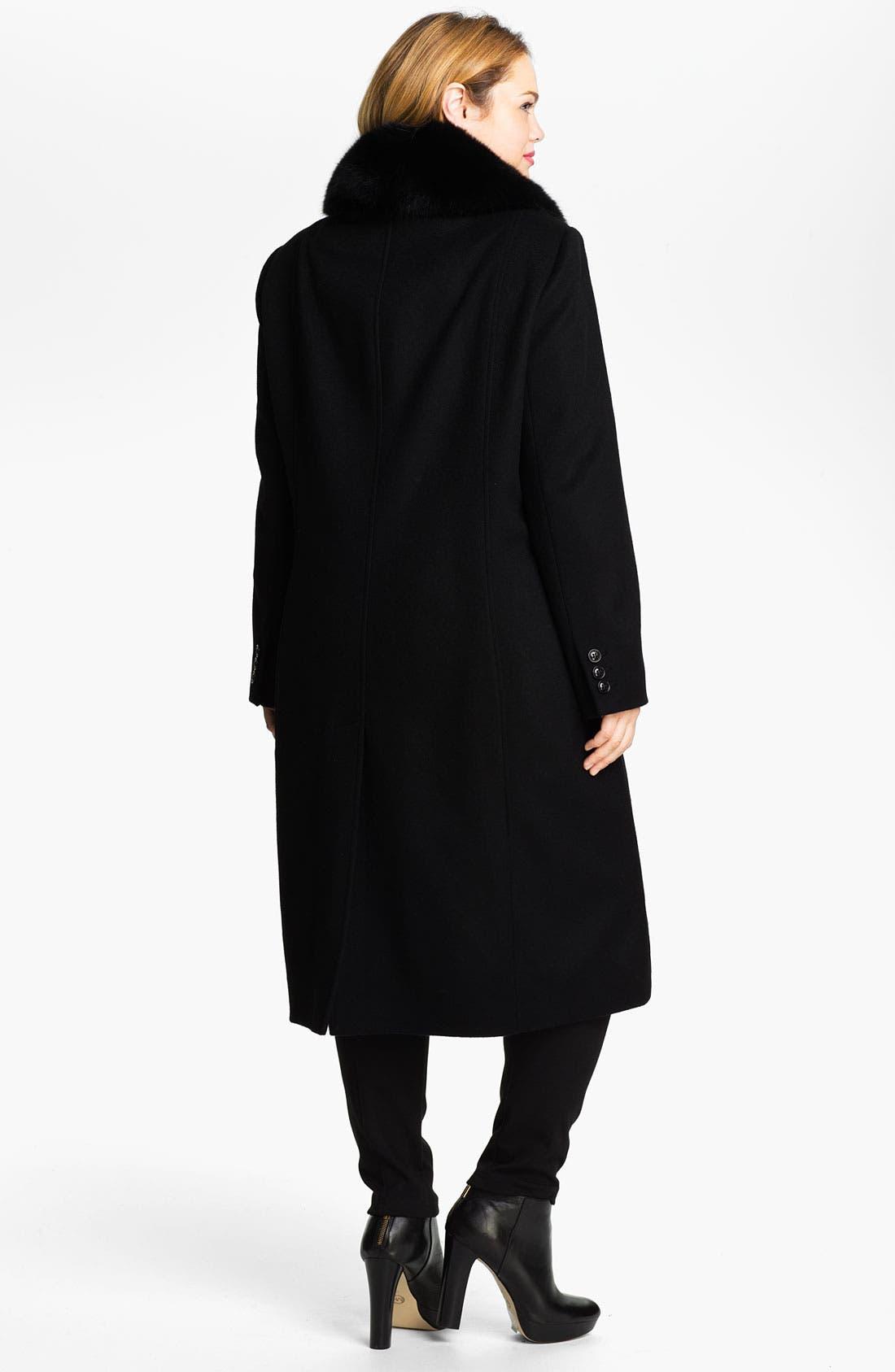 Alternate Image 2  - Sachi Wool Blend Coat with Genuine Fox Fur (Plus)