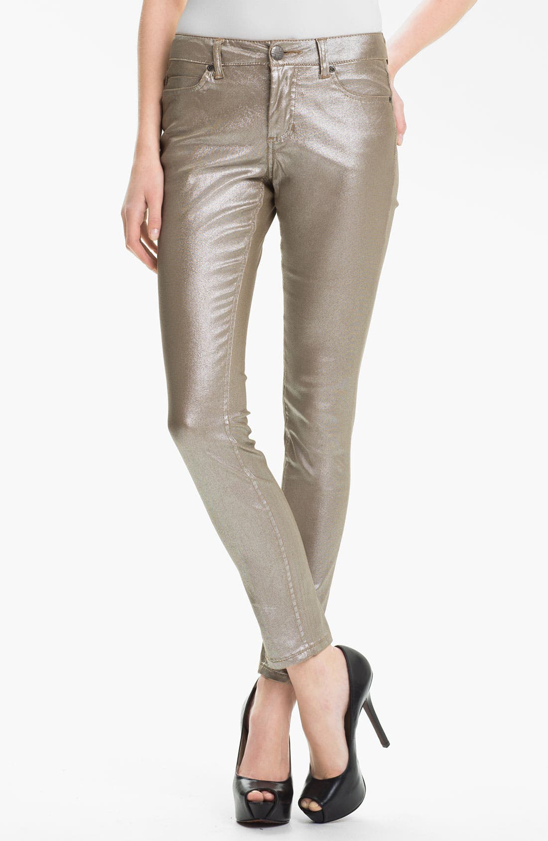Alternate Image 1 Selected - Liverpool Jeans Company 'Abby' Metallic Coated Skinny Jeans (Petite) (Online Exclusive)