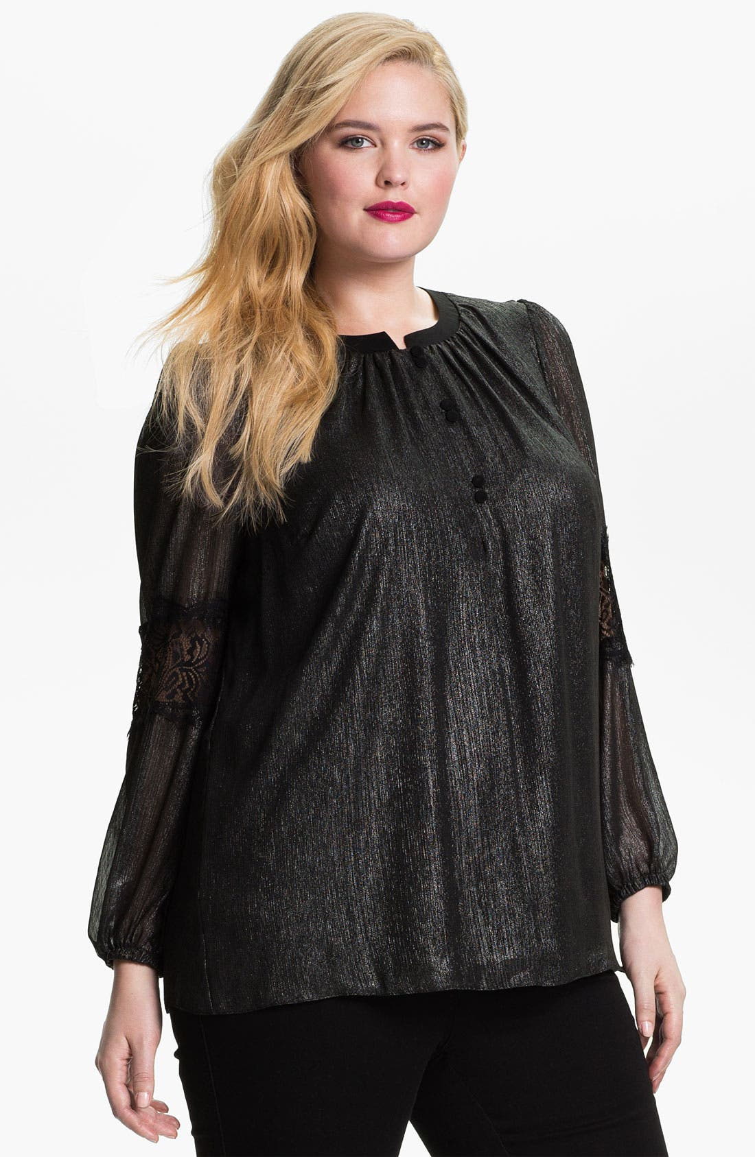 Alternate Image 1 Selected - Evans 'Kimmy' Metallic Blouse (Plus Size)