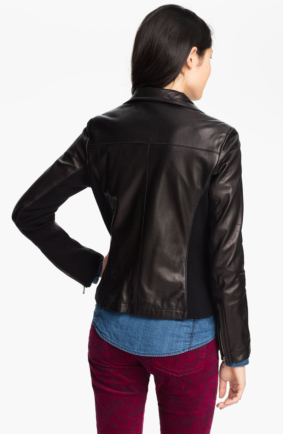 Alternate Image 2  - Calvin Klein Leather Scuba Jacket