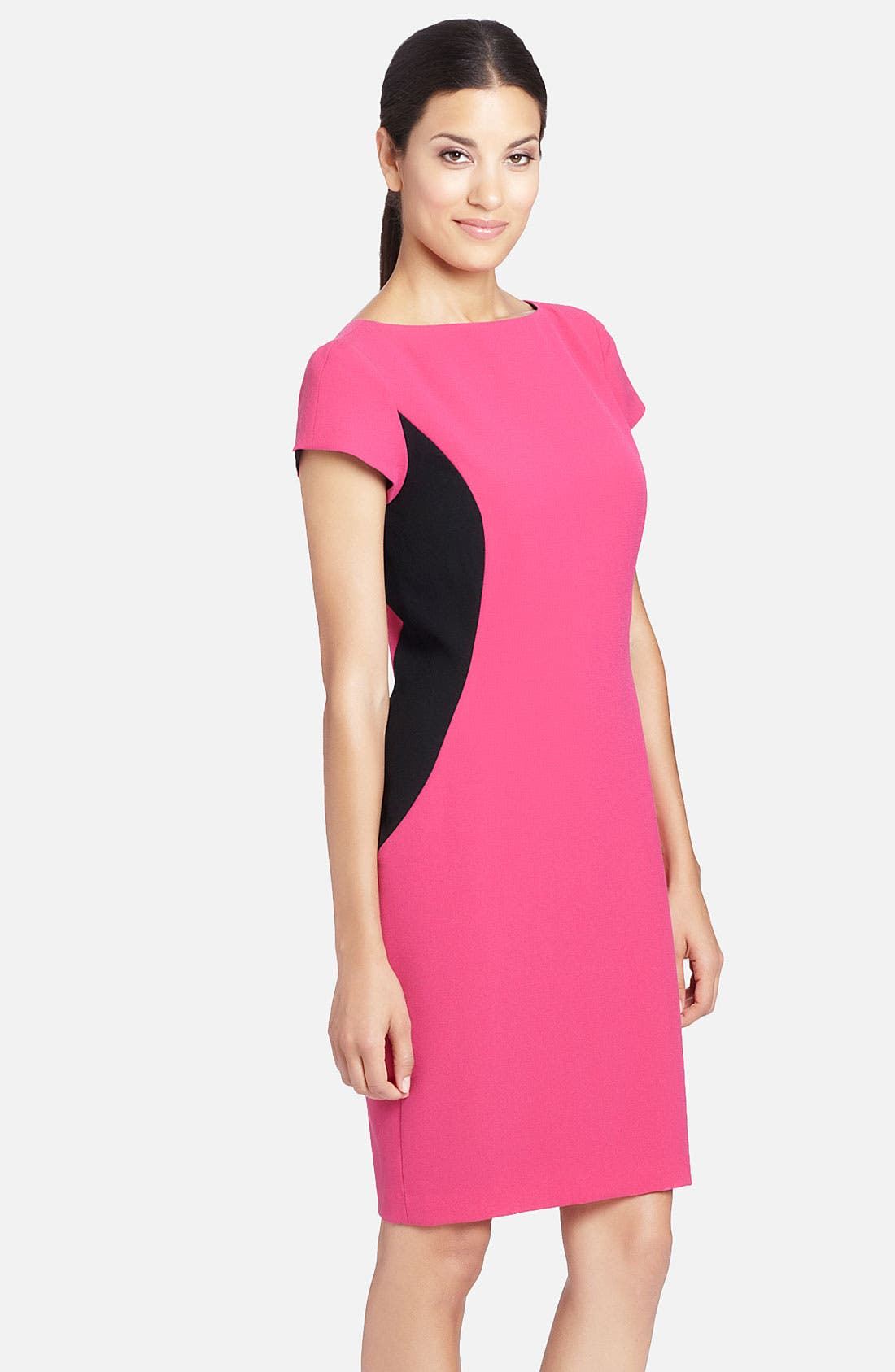 Alternate Image 1 Selected - Cynthia Steffe 'Lida' Contrast Side Panel Crepe Sheath Dress