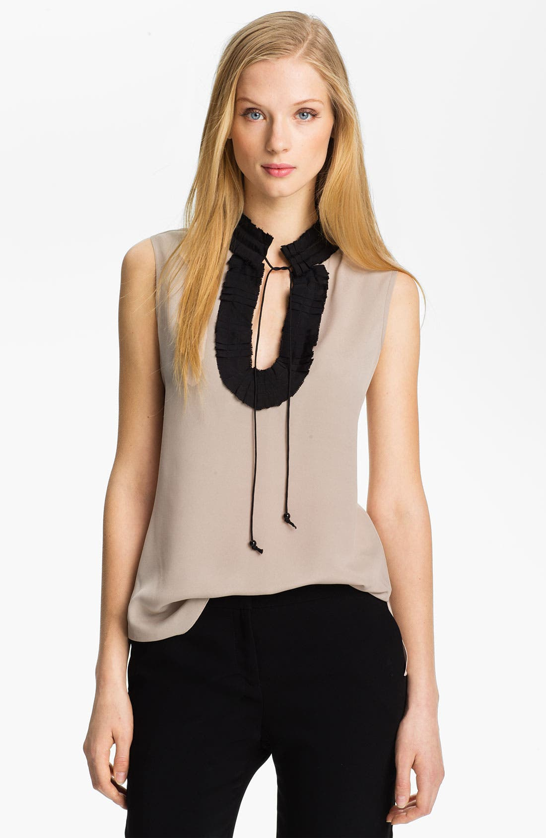 Alternate Image 1 Selected - Anne Klein Ruffle Neck Blouse (Petite)