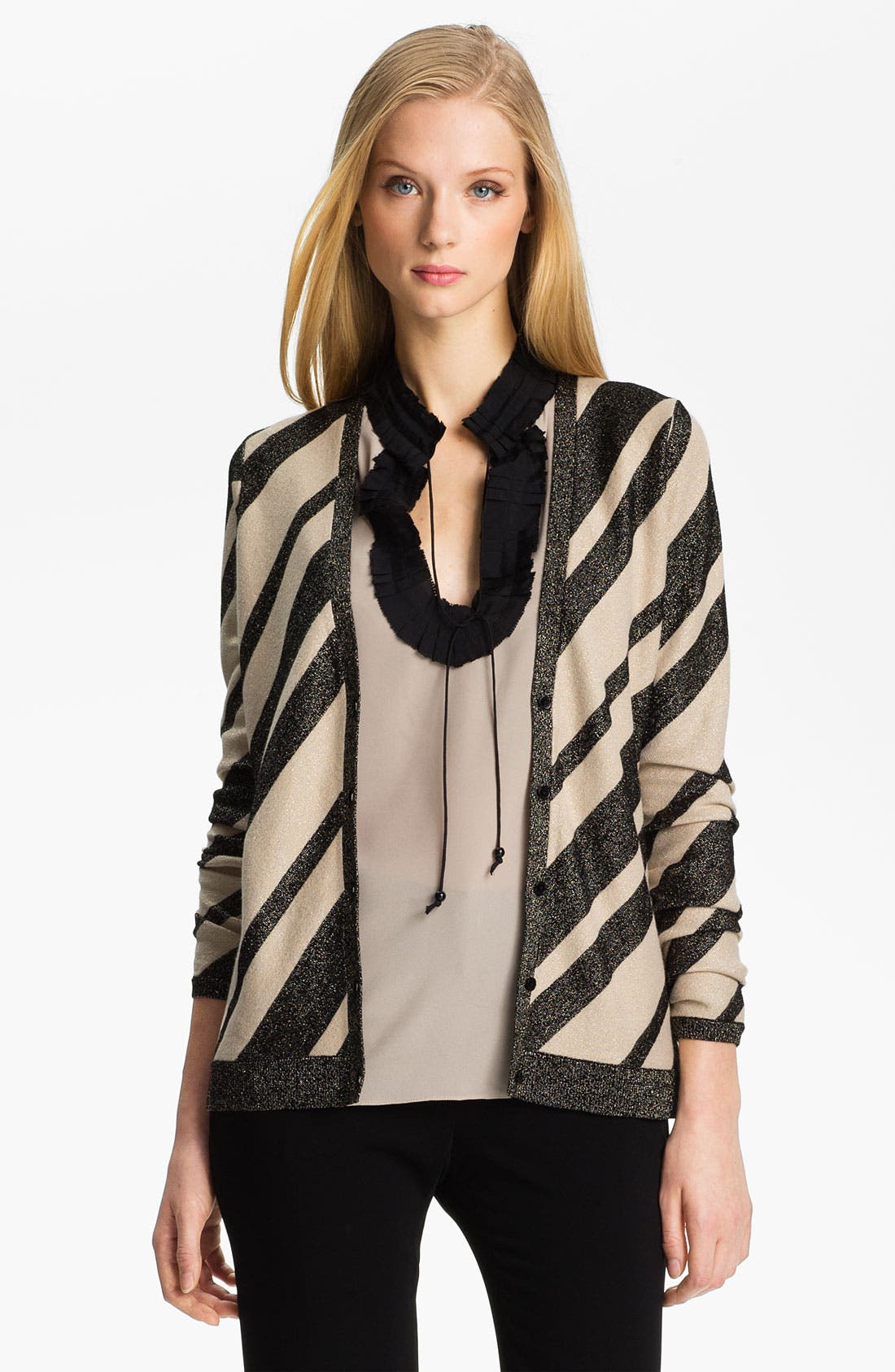 Alternate Image 1 Selected - Anne Klein Stripe V-Neck Cardigan (Petite)