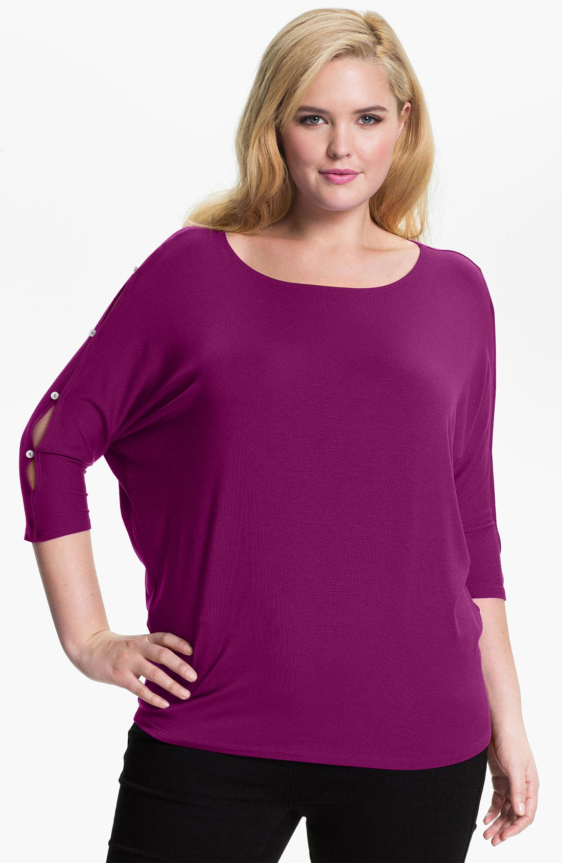 Alternate Image 1 Selected - Laila Jayde Button Detail Dolman Sleeve Top (Plus)