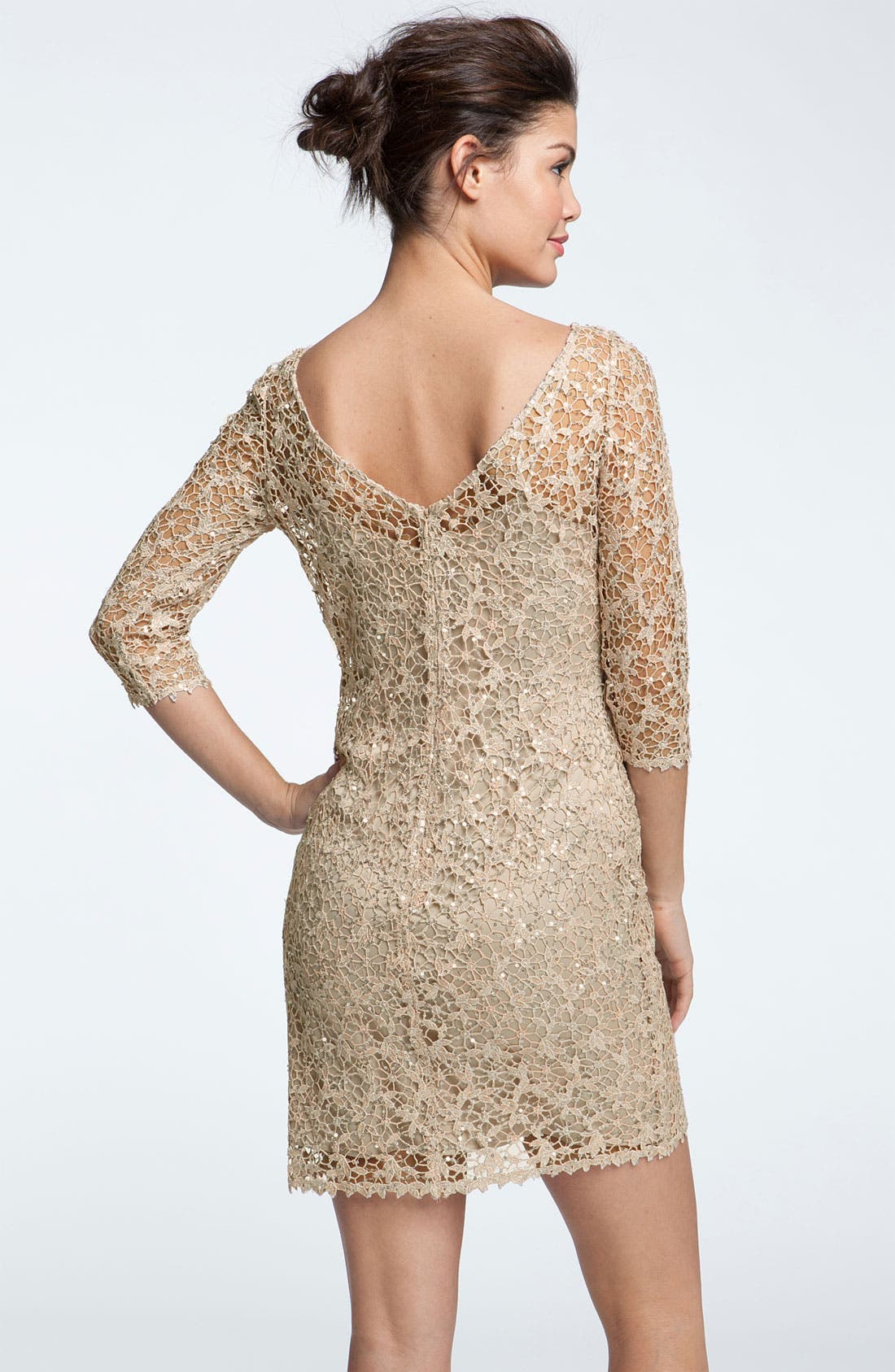 Alternate Image 2  - Kay Unger Sequin & Lace Sheath Dress (Petite)