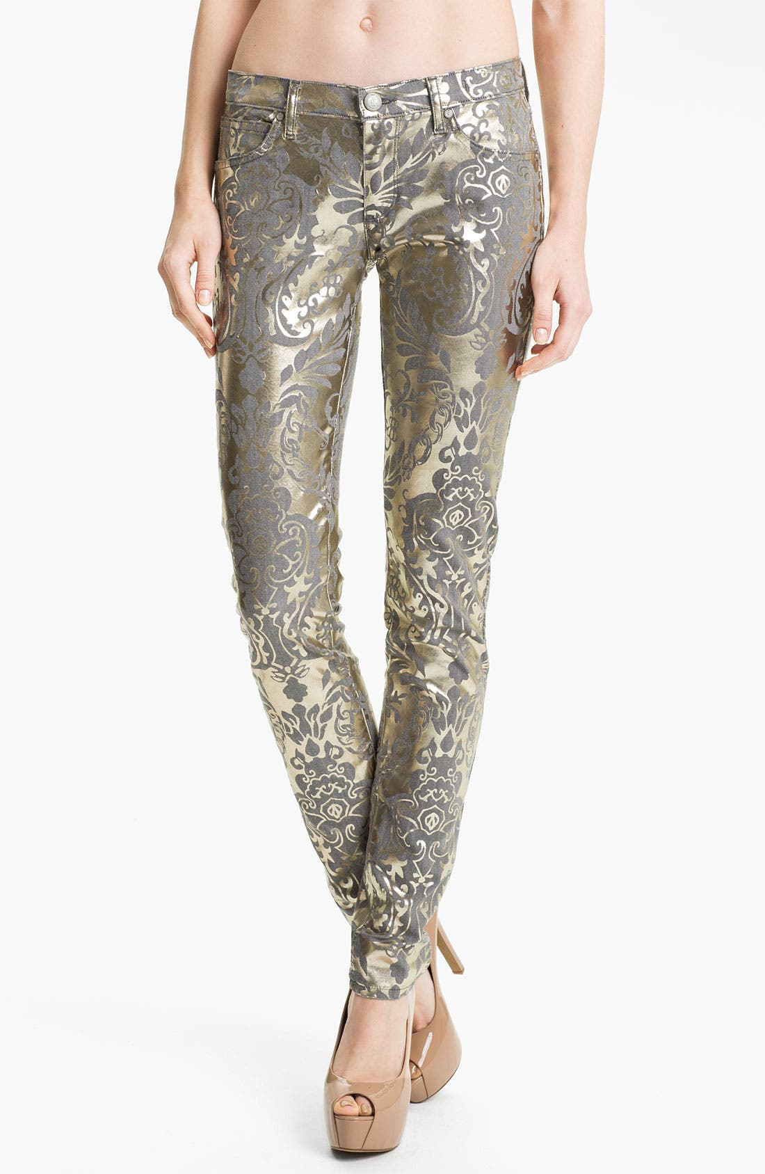 Main Image - Juicy Couture Foil Brocade Skinny Jeans (Pale Gold)