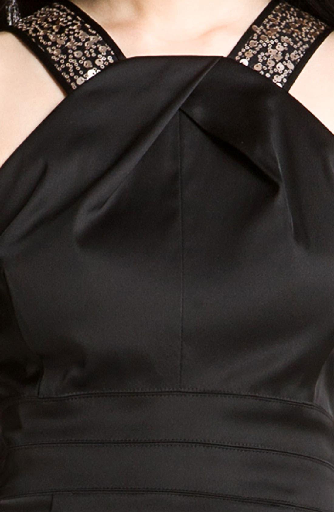 Alternate Image 3  - Donna Ricco Sequin Strap Satin Halter Dress (Petite)