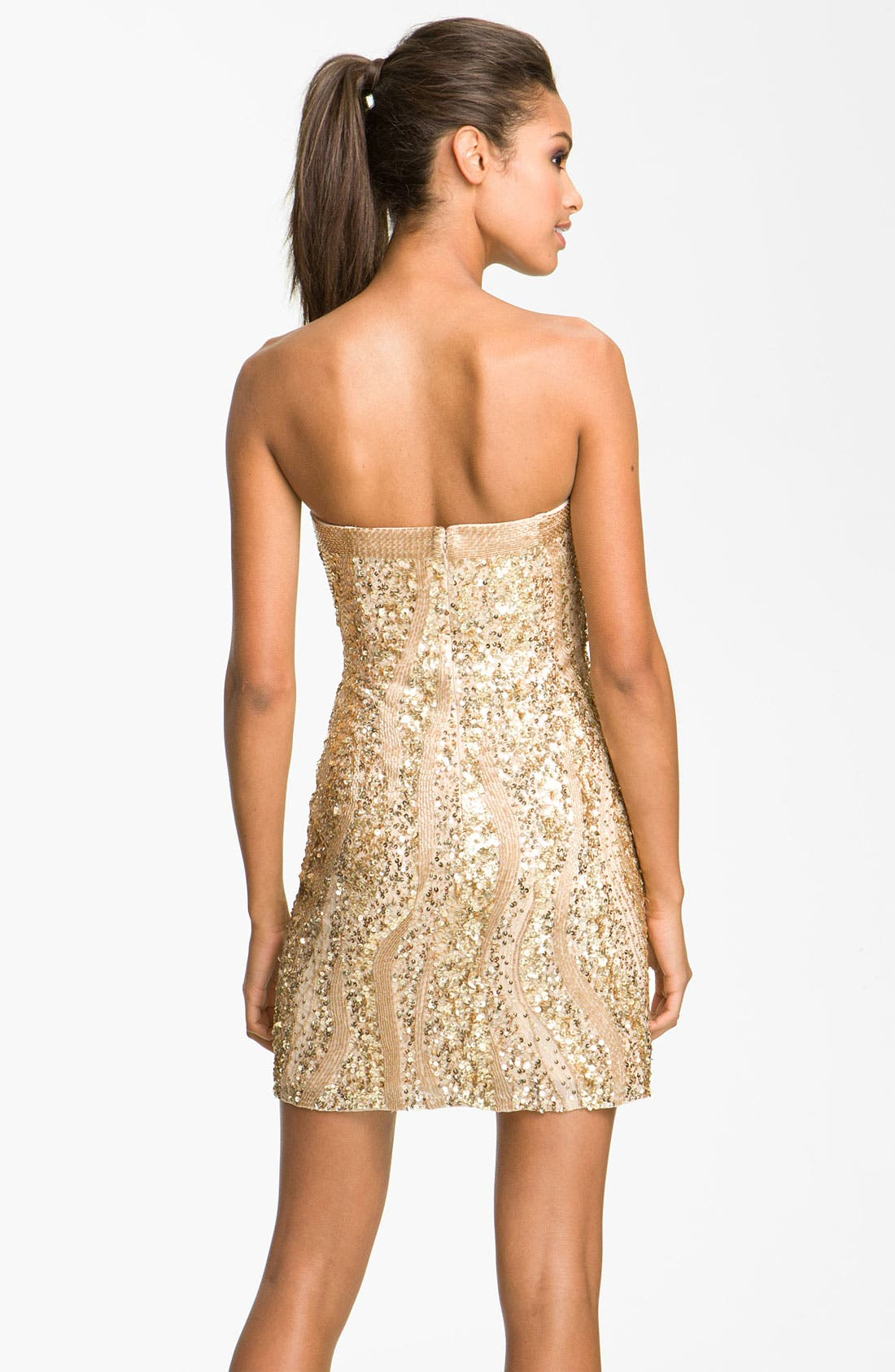 Alternate Image 2  - Adrianna Papell Sequin Strapless Sheath Dress (Petite)