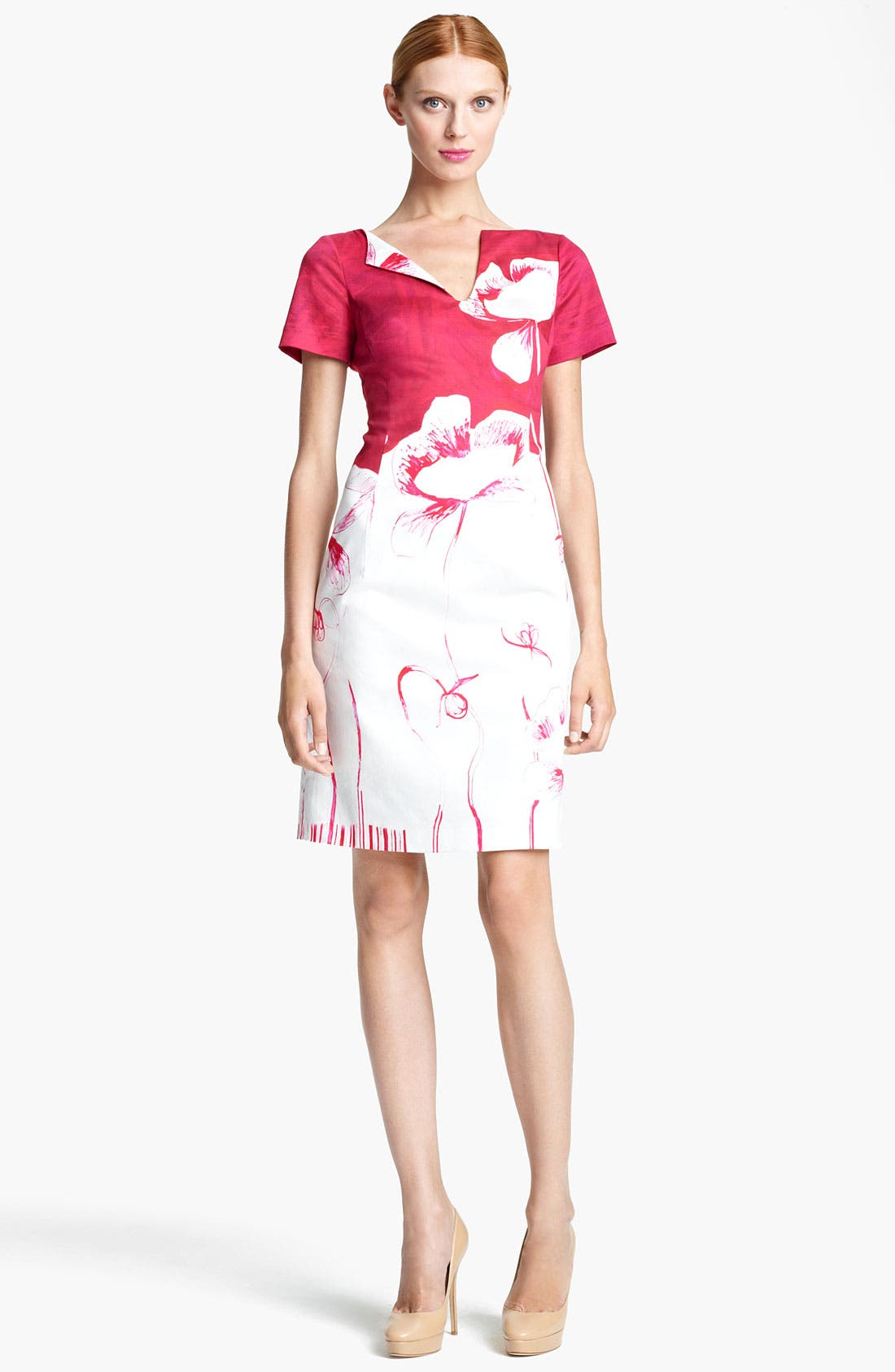 Main Image - Piazza Sempione Poppy Print Stretch Cotton Dress