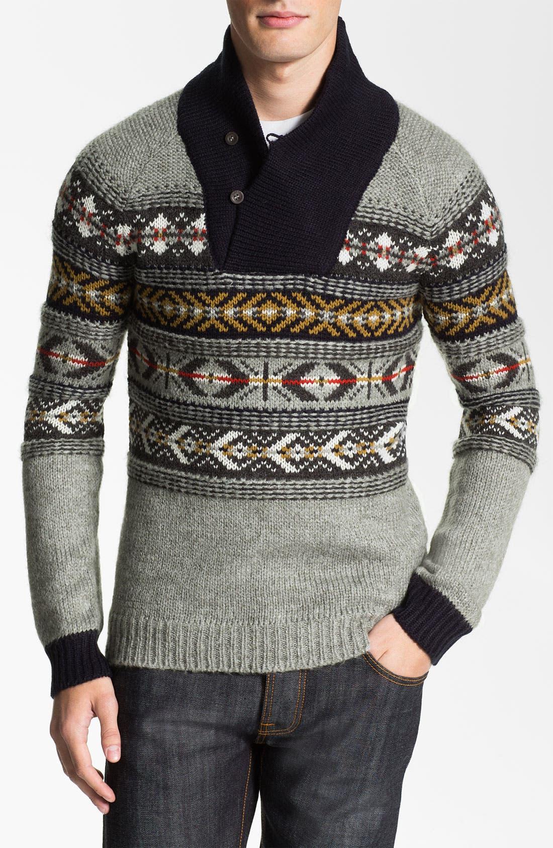 Main Image - J.C. Rags Jacquard Shawl Collar Sweater