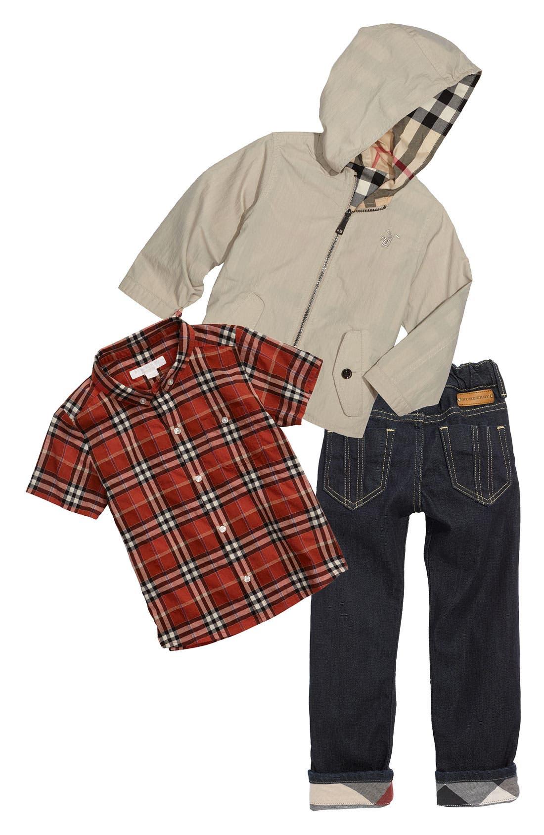 Alternate Image 1 Selected - Burberry Jacket, Shirt & Jeans (Toddler)
