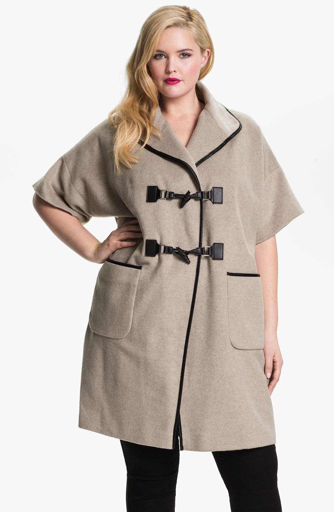 Alternate Image 1 Selected - Evans Faux Leather Trim Toggle Coat (Plus Size)