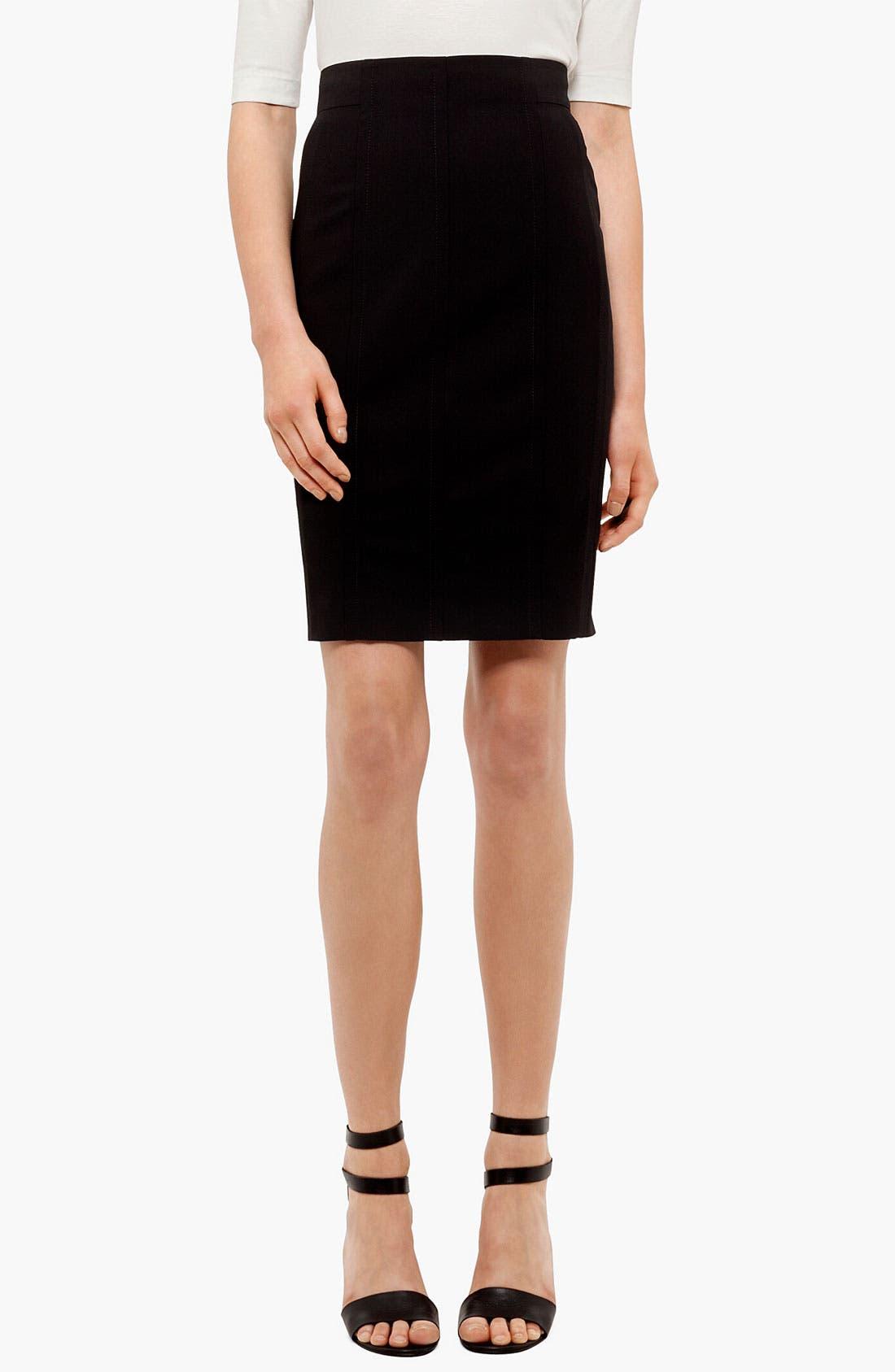 Wool Pencil Skirt,                         Main,                         color, Black