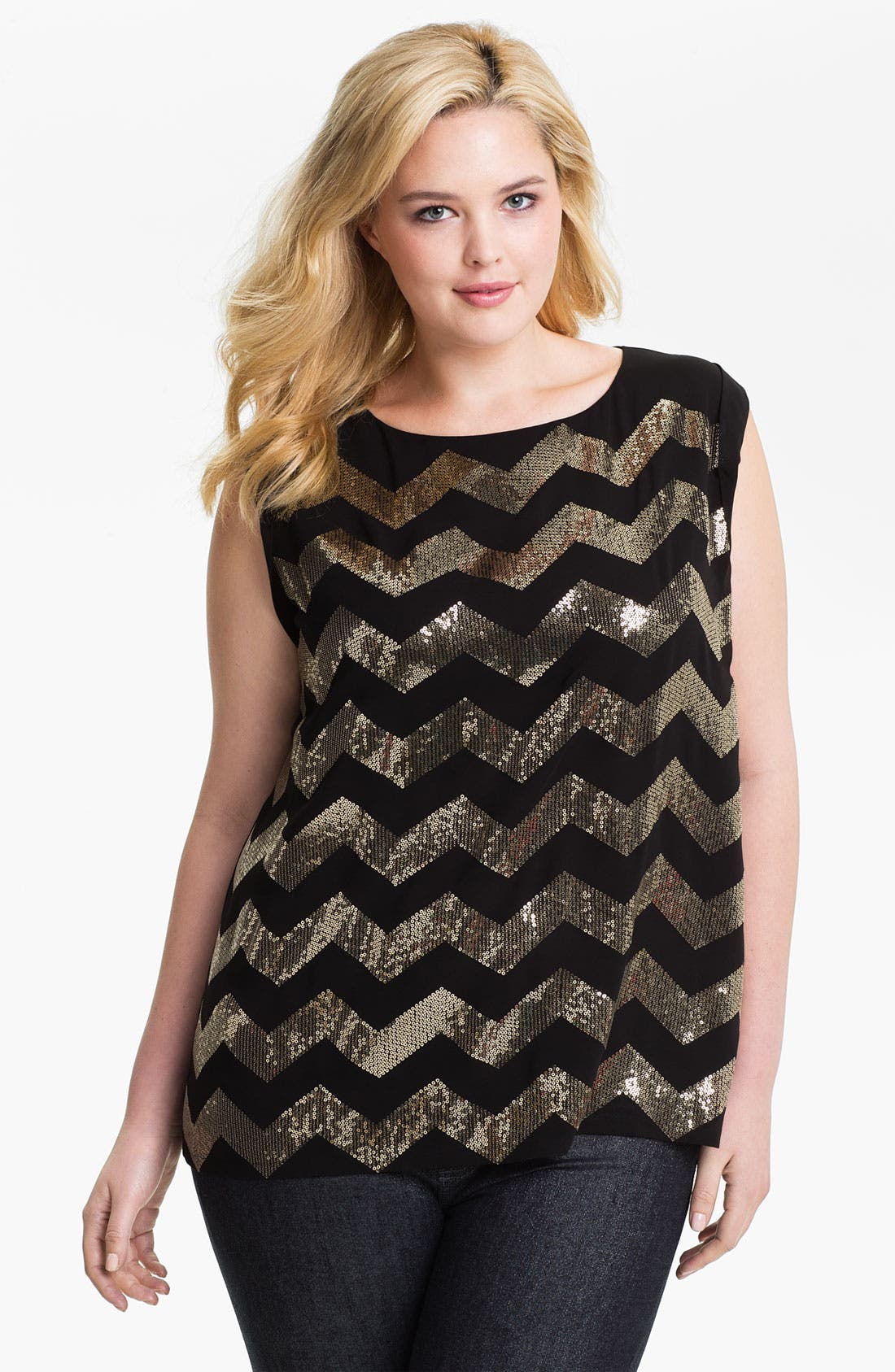 Alternate Image 1 Selected - Vince Camuto Sequin Chevron Blouse (Plus)