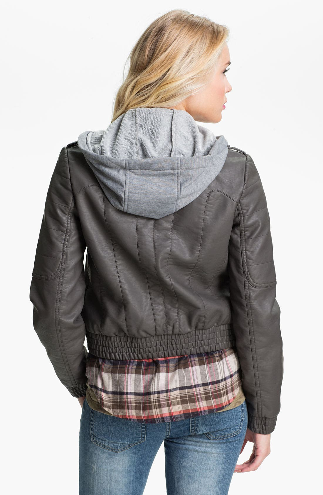 Alternate Image 2  - Collection B Hooded Faux Leather Bomber Jacket (Juniors)