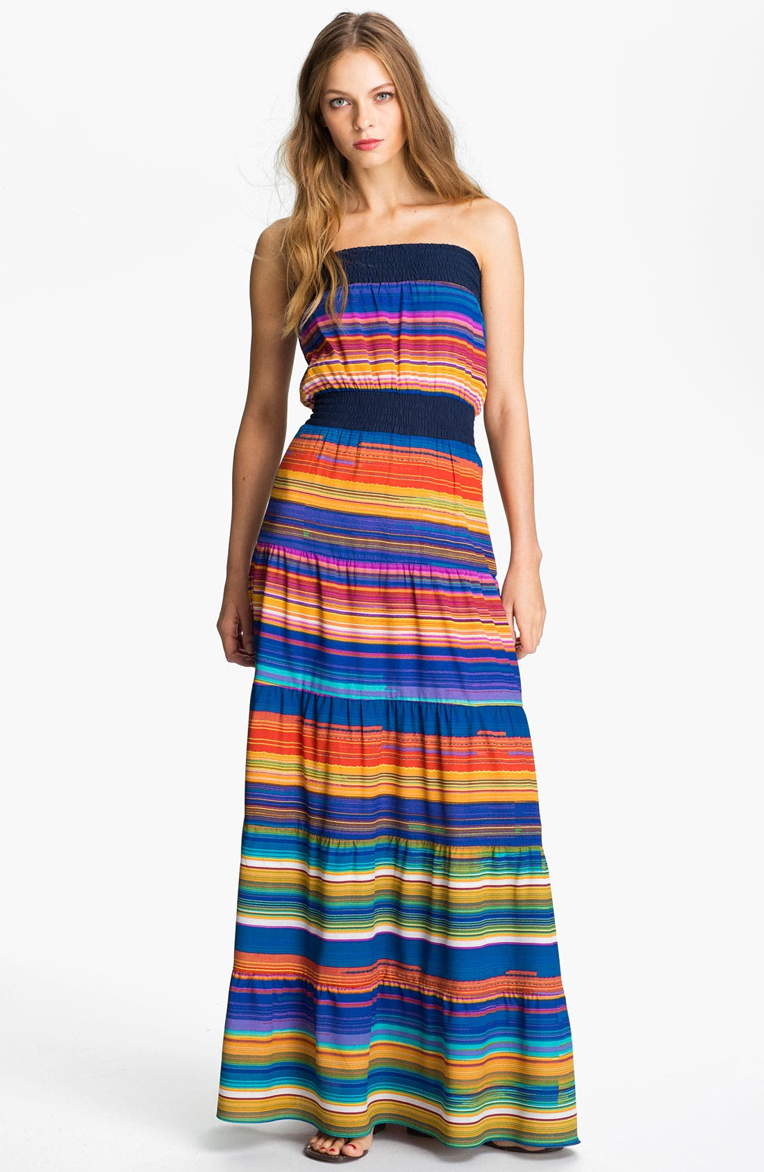 Alternate Image 1 Selected - Tbags Los Angeles Multi Stripe Smocked Prairie Maxi Dress