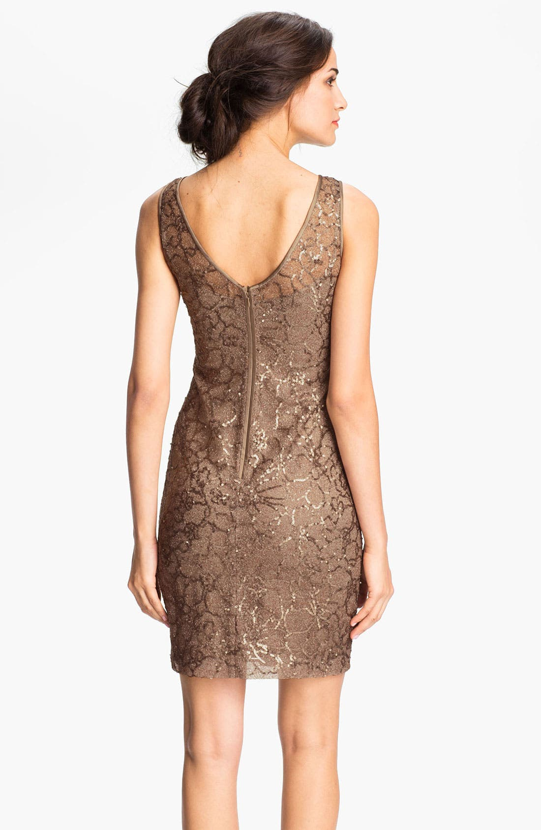Alternate Image 2  - Teri Jon V-Back Sequin Floral Sheath Dress