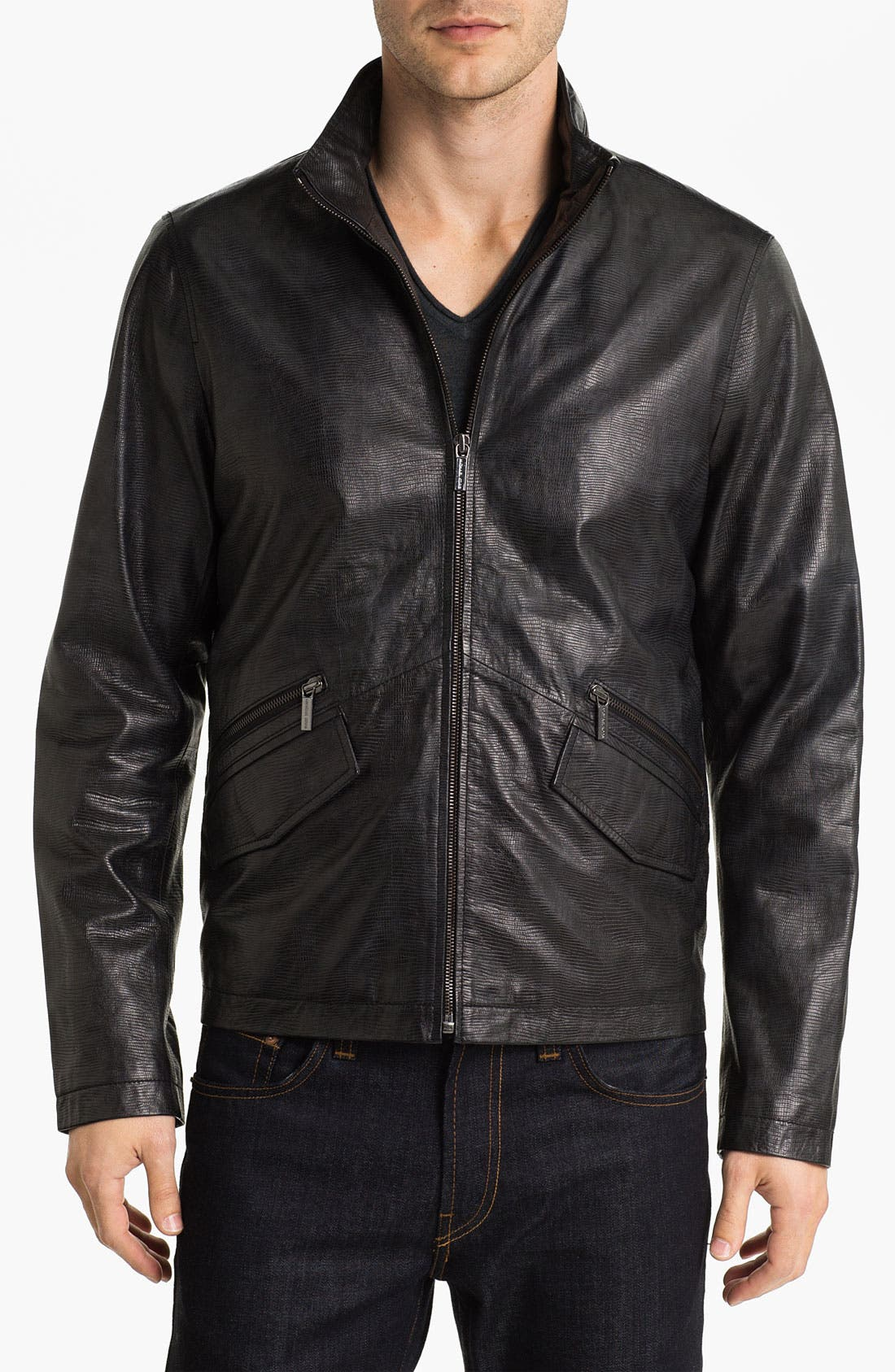 Alternate Image 1 Selected - Michael Kors Embossed Leather Jacket (Online Exclusive)