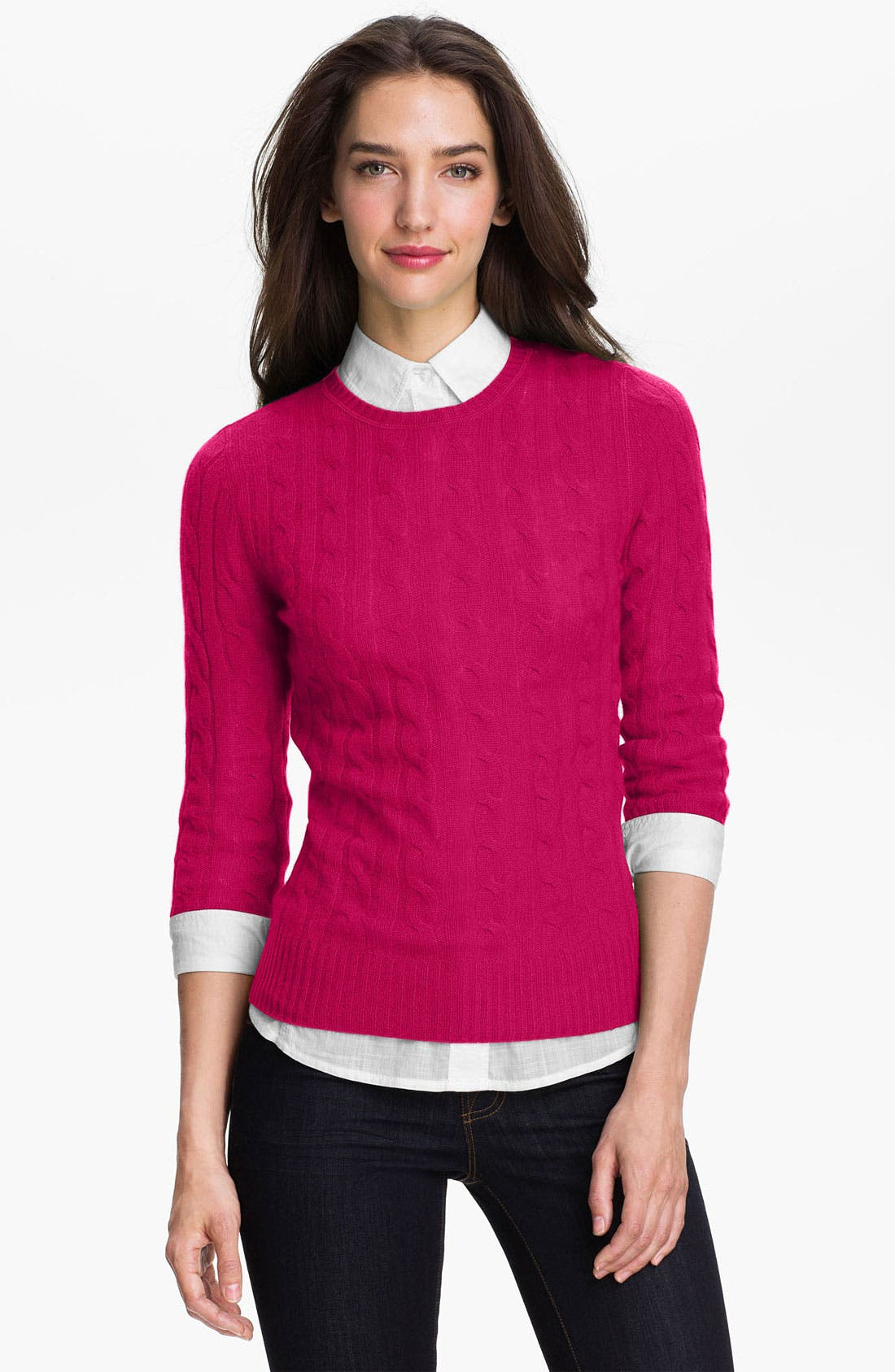 Cable Cashmere Sweater,                             Main thumbnail 1, color,                             Pink Fuchsia