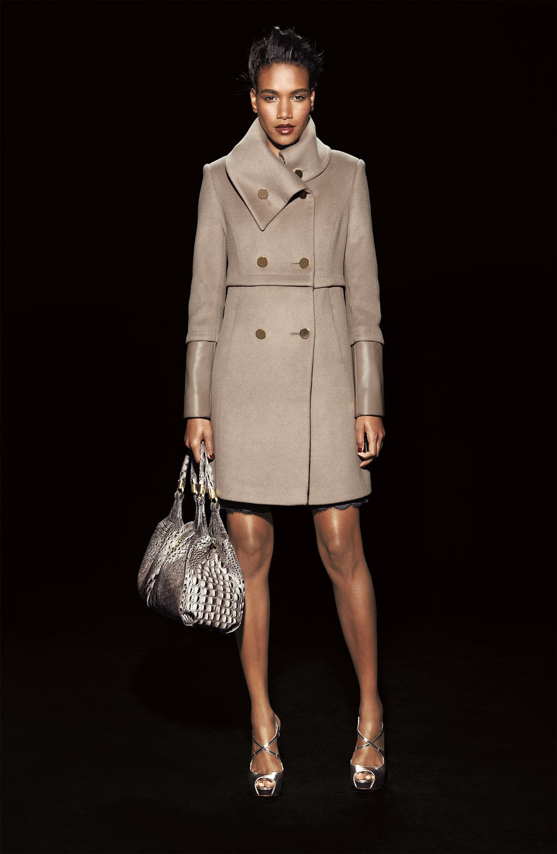 Alternate Image 4  - Elie Tahari Leather Trim Wool Coat