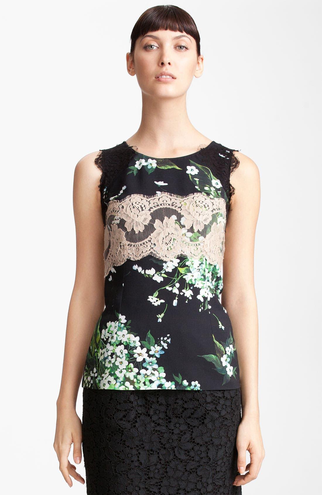 Main Image - Dolce&Gabbana Lace & Lily Print Stretch Cady Shell