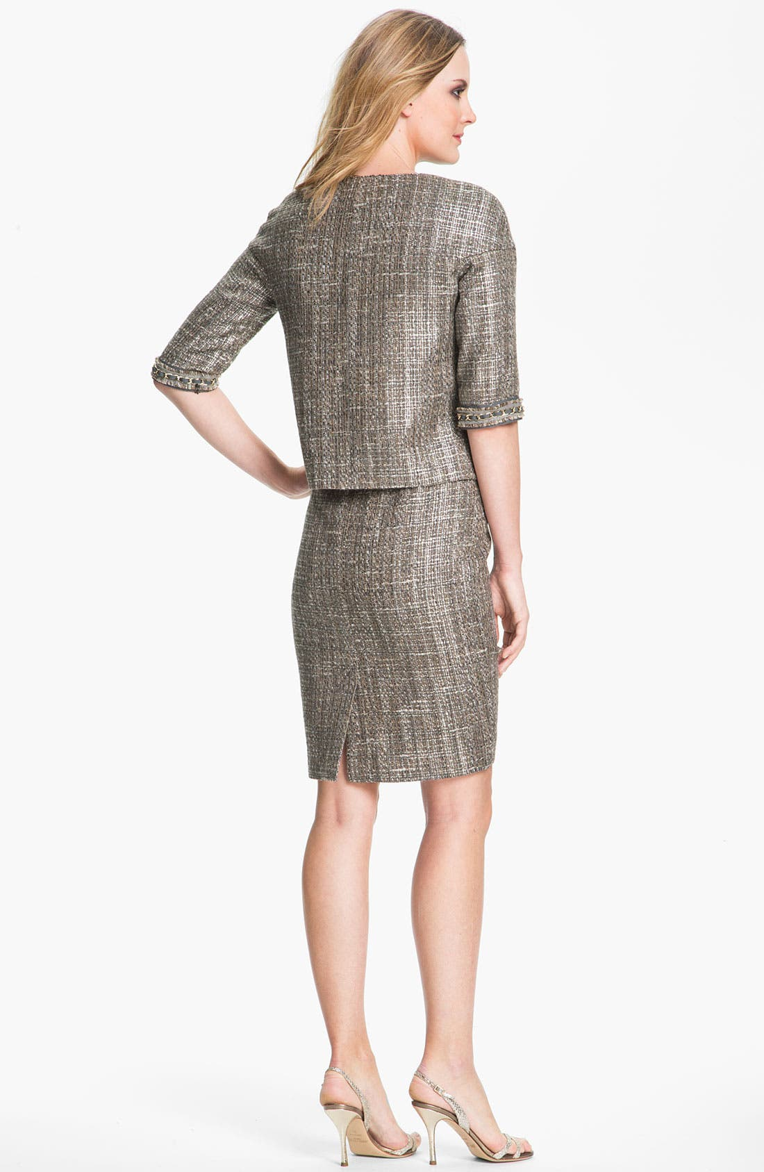 Alternate Image 4  - St. John Collection Metallic Space Dye Tweed Pencil Skirt
