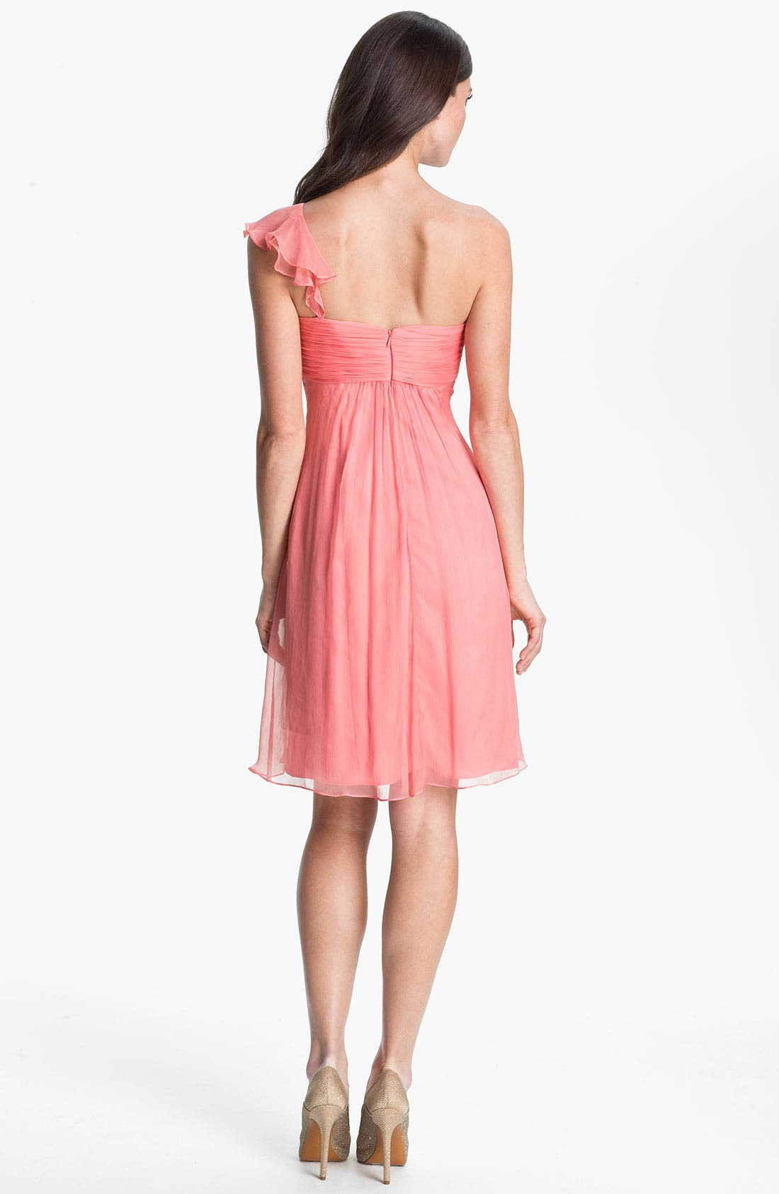 Alternate Image 2  - Amsale One Shoulder Ruffle Silk Chiffon Dress