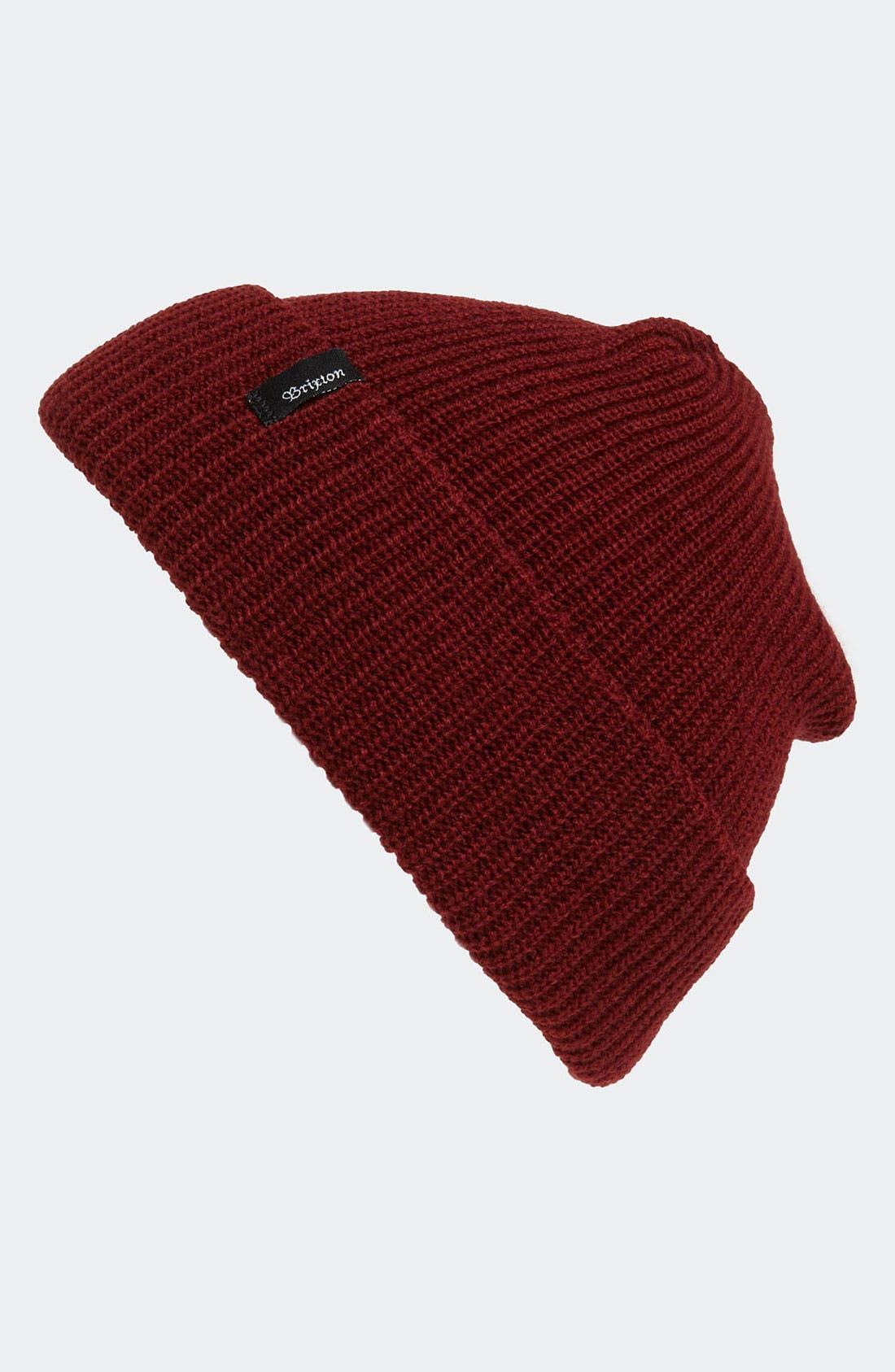 'Heist' Rib Knit Cap,                         Main,                         color, Burgundy