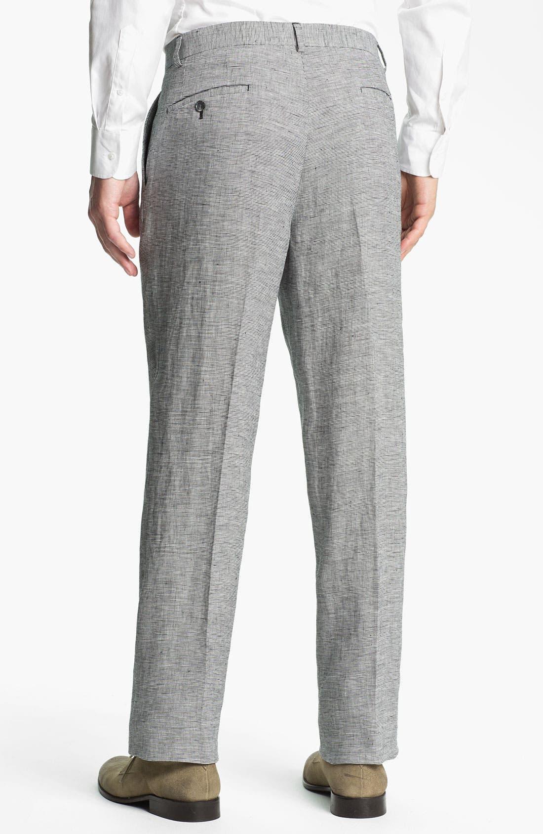 Alternate Image 2  - John W. Nordstrom® Flat Front Linen Trousers