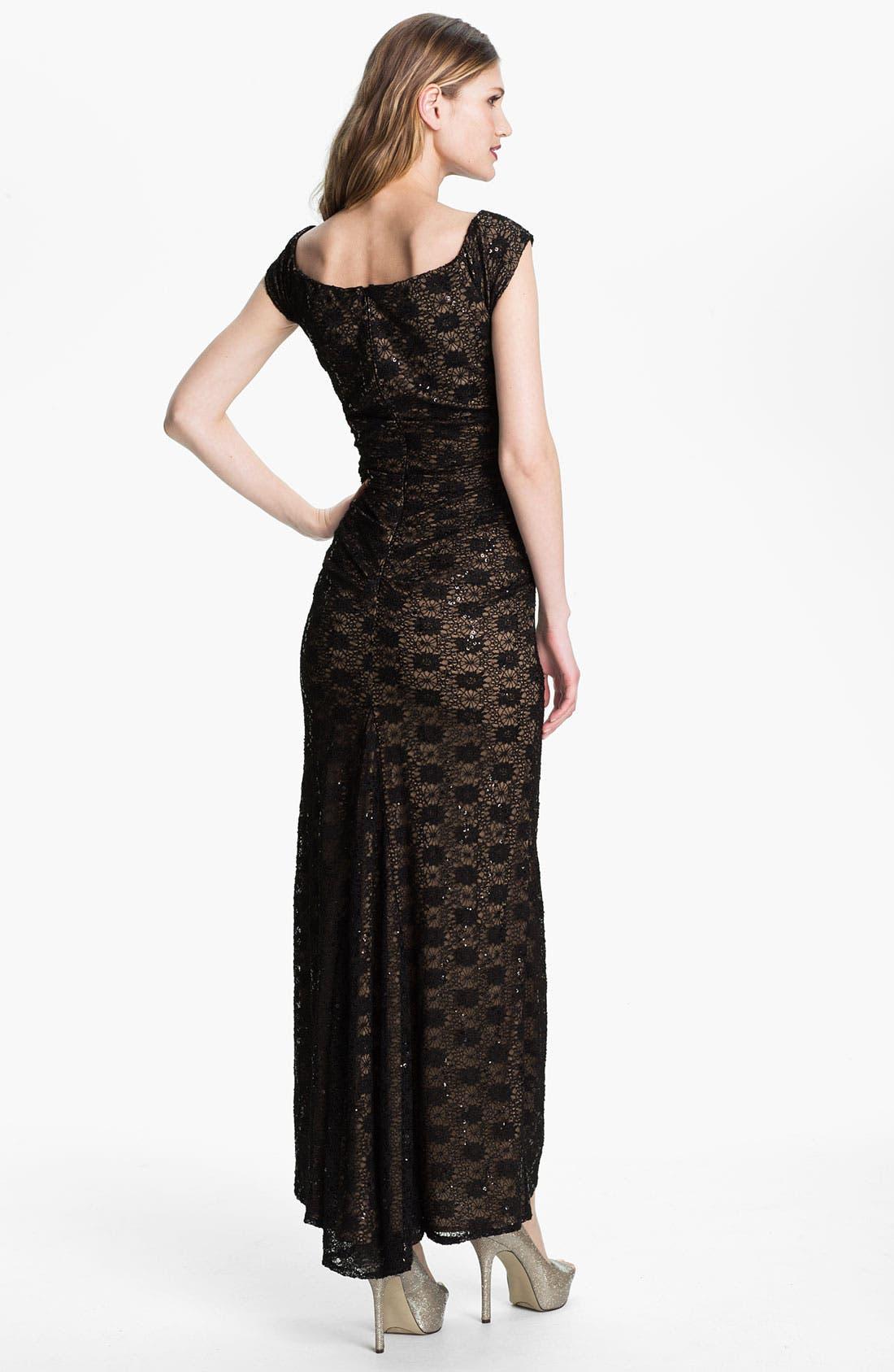 Alternate Image 2  - Alex Evenings Cap Sleeve Lace Column Gown