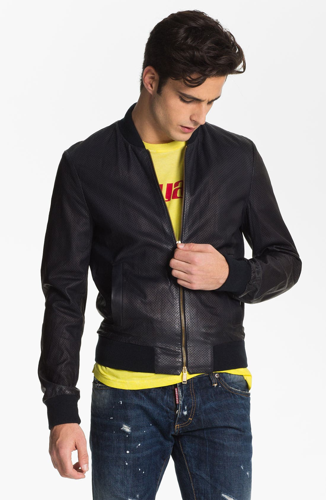 Alternate Image 1 Selected - Dsquared2 Pierced Lamb Leather Jacket