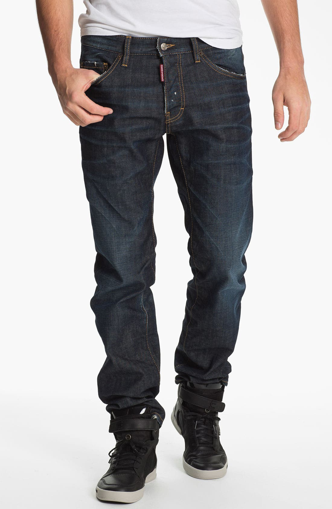 Alternate Image 1 Selected - Dsquared2 'Dean' Straight Leg Jeans (Blue)