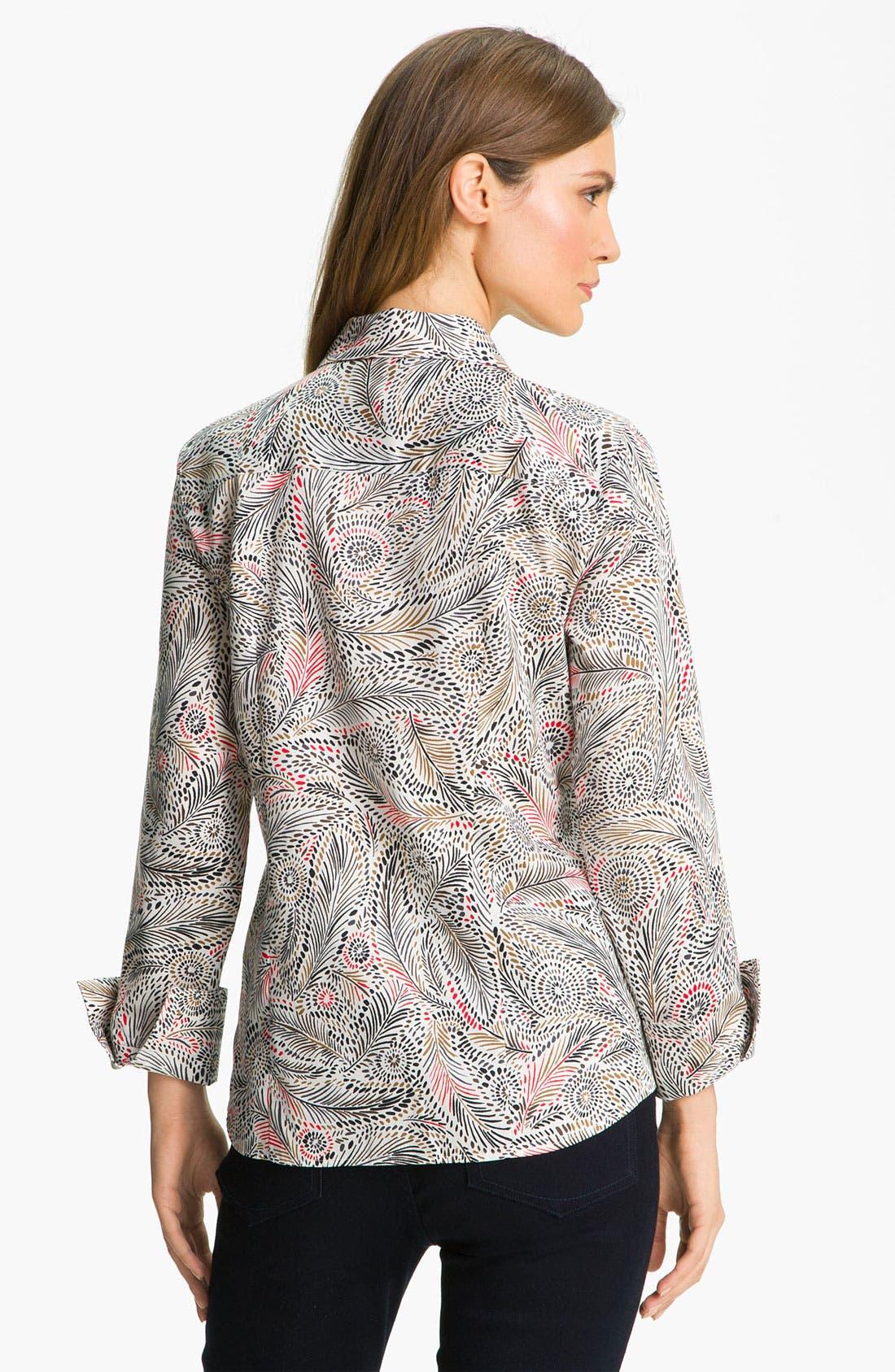 Alternate Image 2  - Foxcroft Feather Print Shirt (Petite)