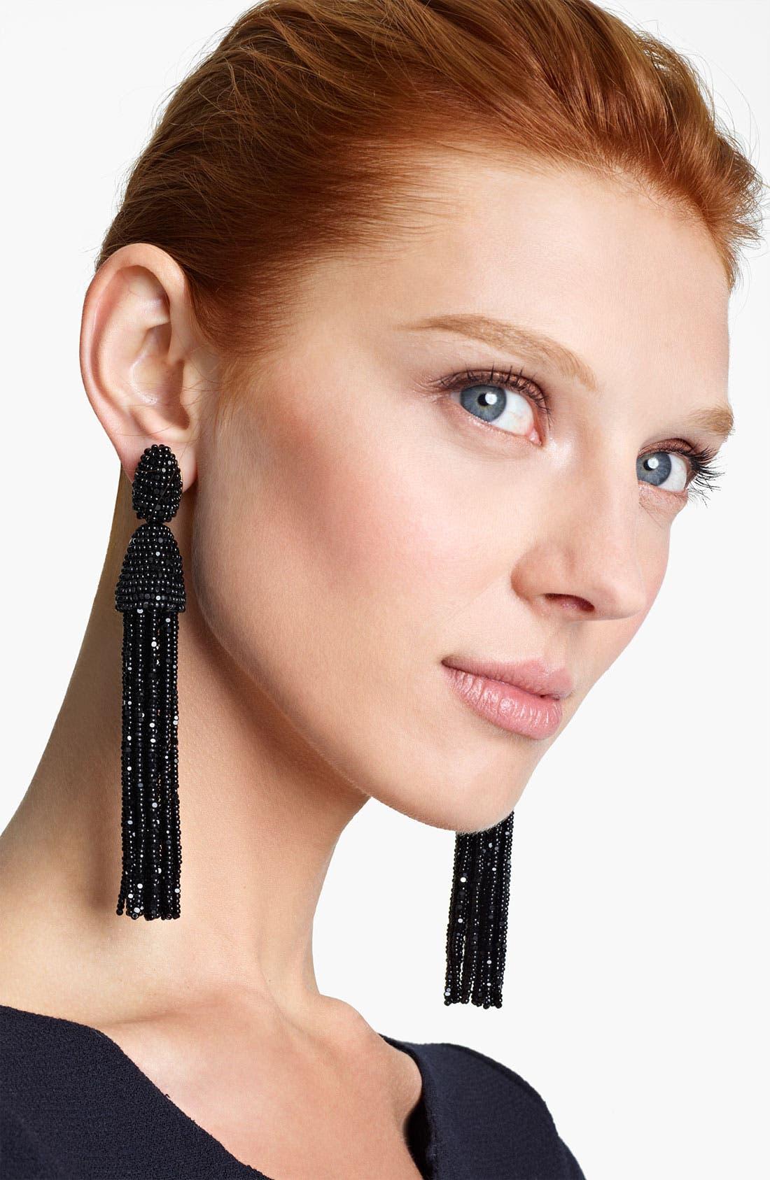Alternate Image 1 Selected - Oscar de la Renta Long Tassel Clip Earrings