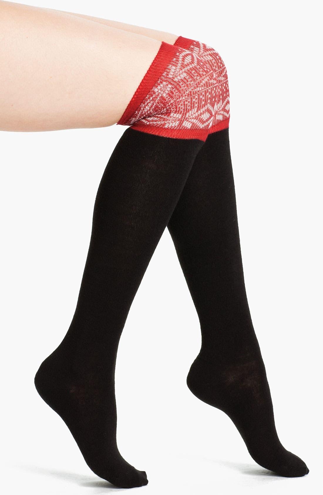 Main Image - Hue 'Nordic' Over the Knee Socks