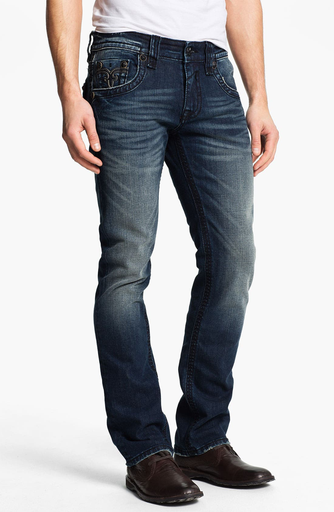 Alternate Image 2  - Rock Revival 'Spencer' Straight Leg Jeans (Medium Blue)