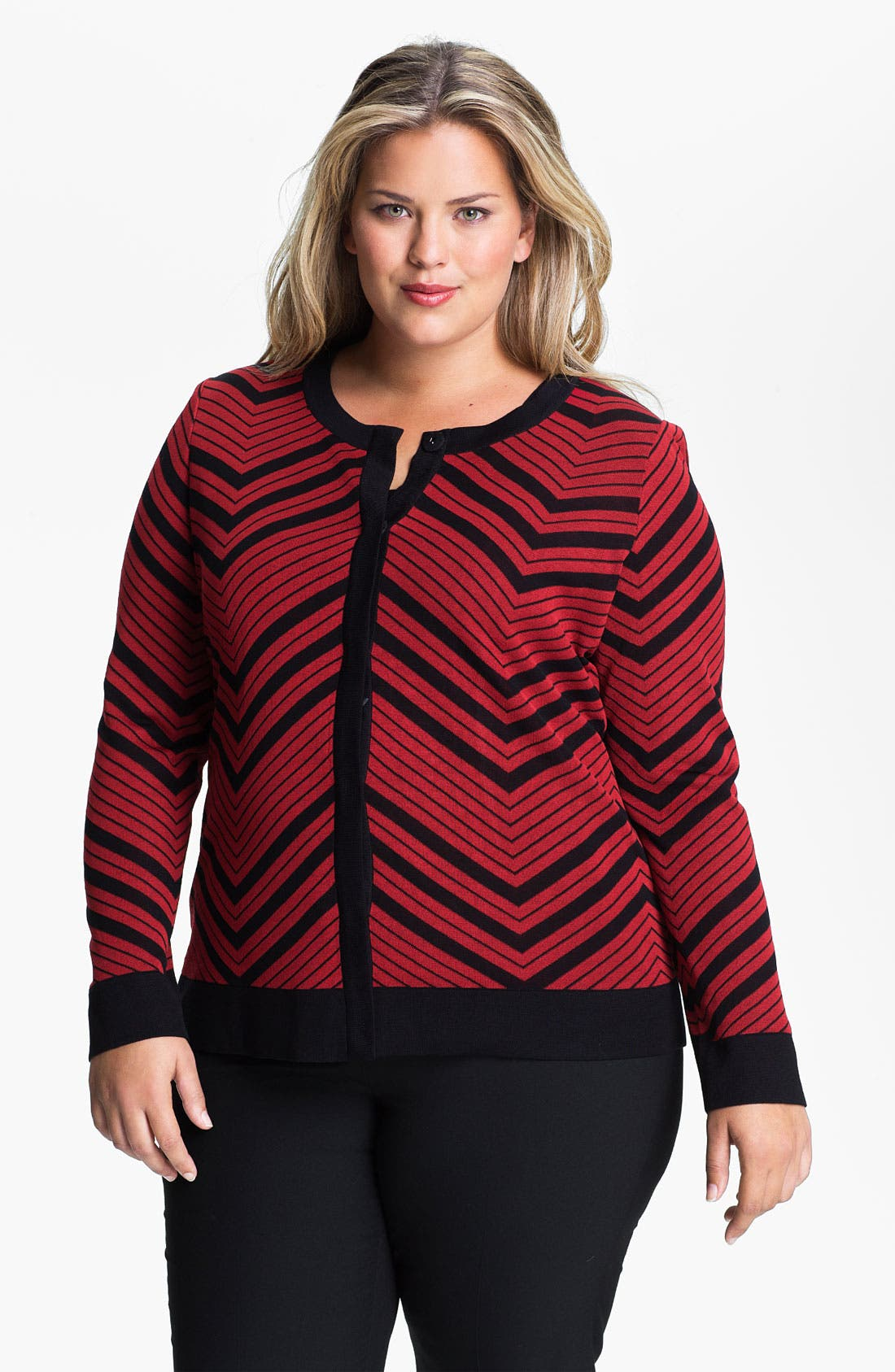 Main Image - Exclusively Misook Jewel Neck Herringbone Pattern Jacket (Plus)