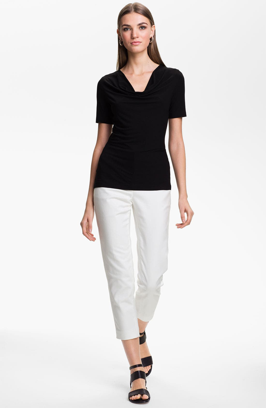 Alternate Image 3  - St. John Collection 'Emma' Double Weave Stretch Cotton Crop Pants