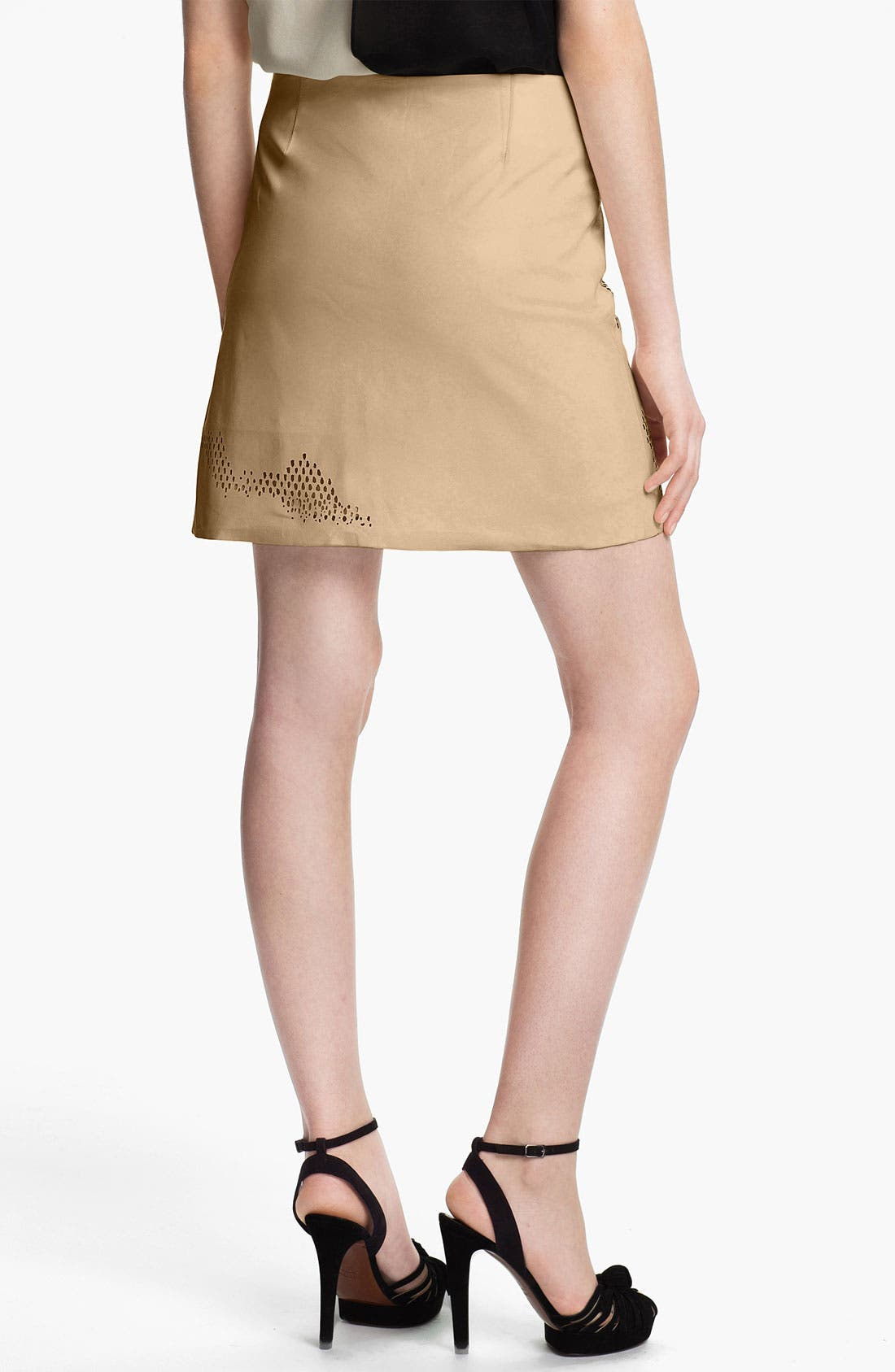 Alternate Image 2  - Halston Heritage Laser Cut Leather Skirt