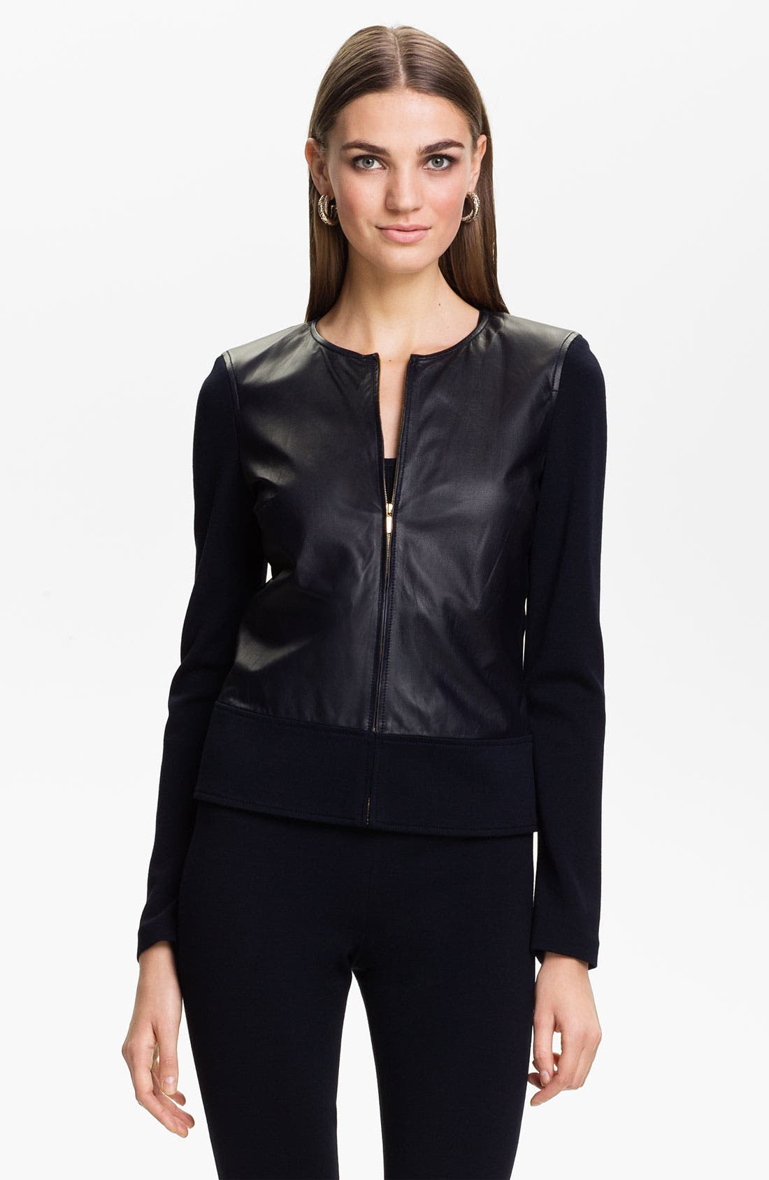 Alternate Image 1 Selected - St. John Collection Nappa Leather Jacket