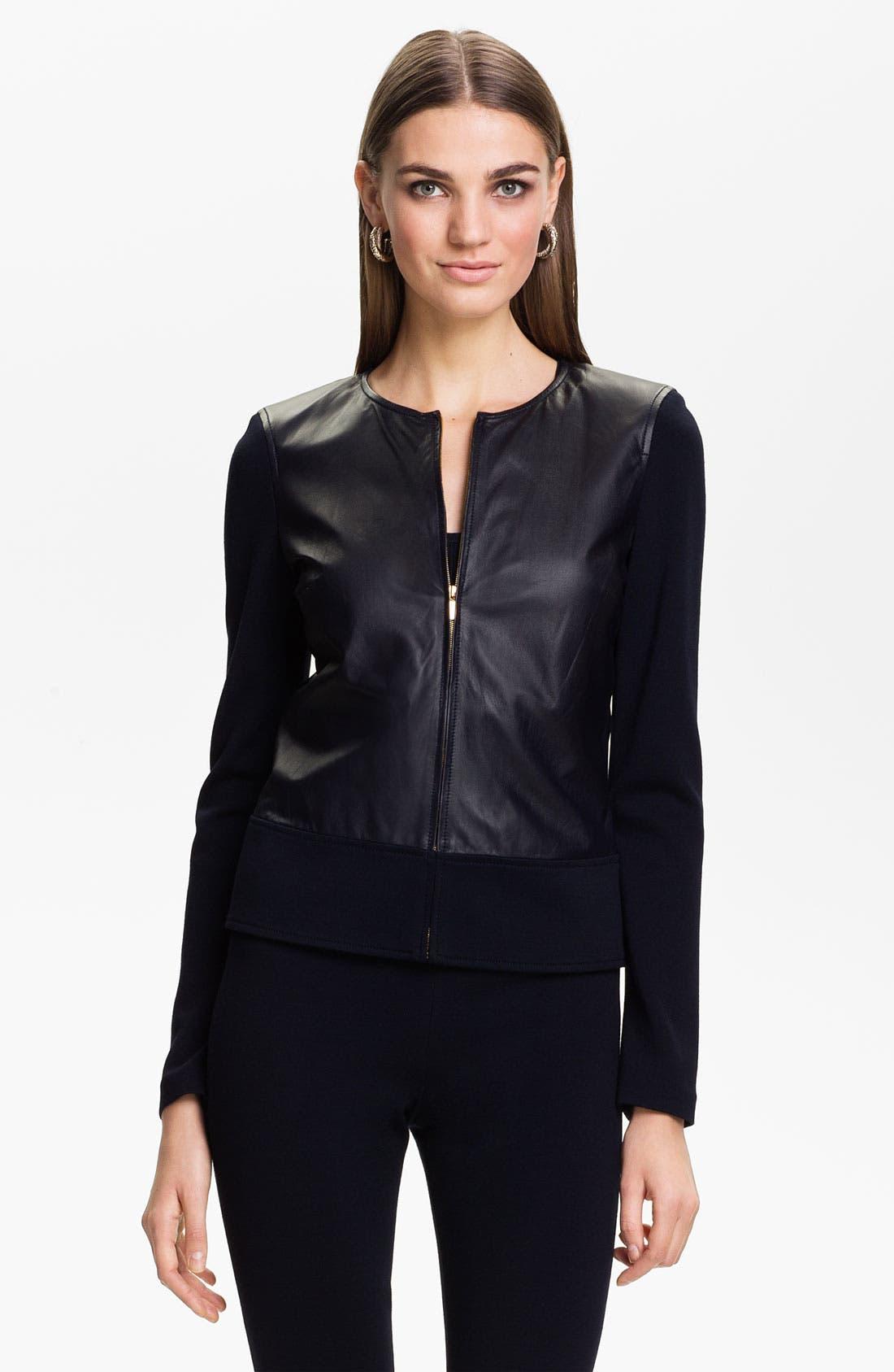 Main Image - St. John Collection Nappa Leather Jacket